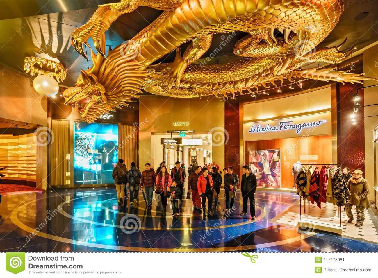 City Of Dreams Casino Interior In Macao  Metal Sculpture Of Golden