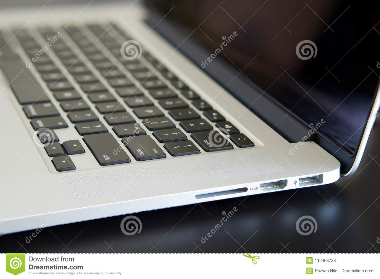 Macbook Pro Detailed View, Side Connectors Stock Image