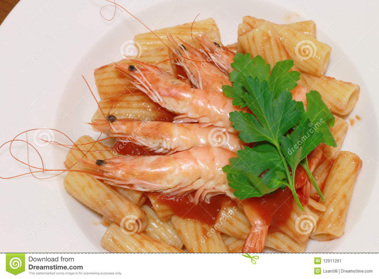 maccaroni with shrimp stock image image of gourmet fork 12911261