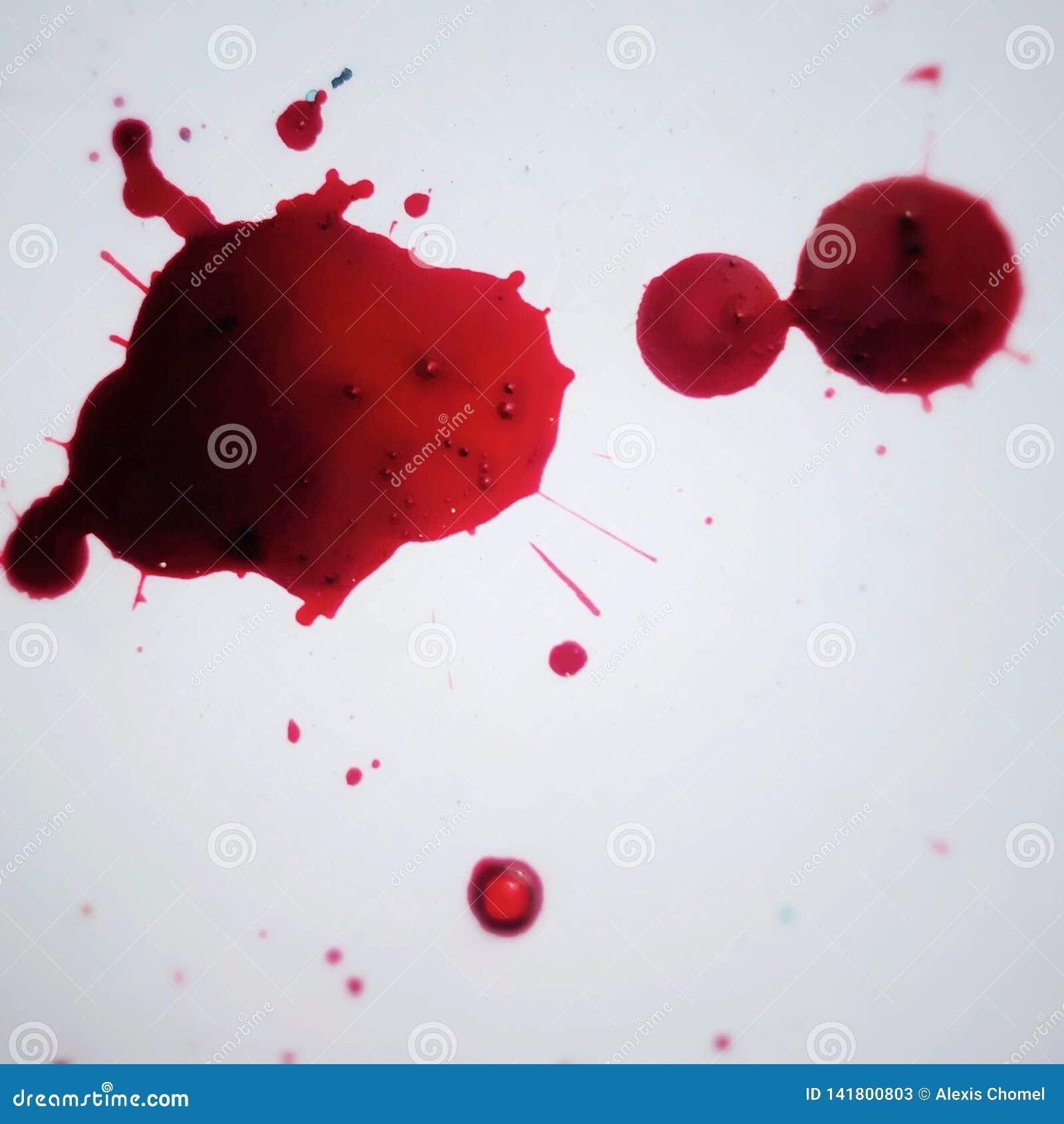 Macchia di sangue su fondo bianco
