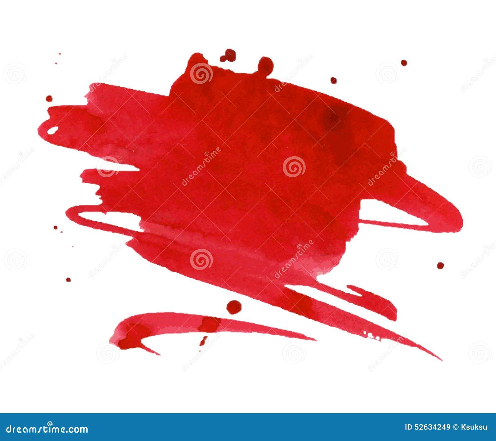 Macchia rossa dell acquerello con la macchia della pittura dell acquerello