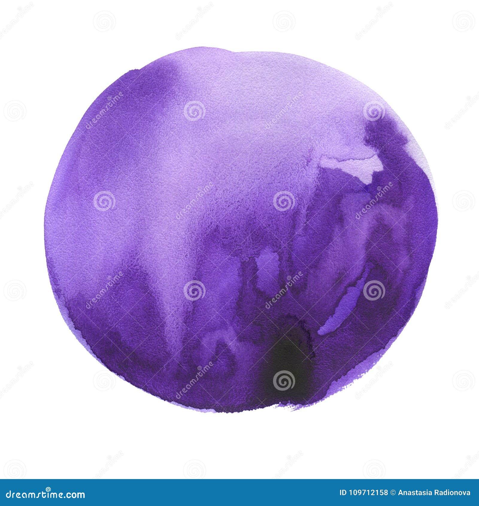 Macchia rotonda dell acquerello Colore ultravioletto e porpora