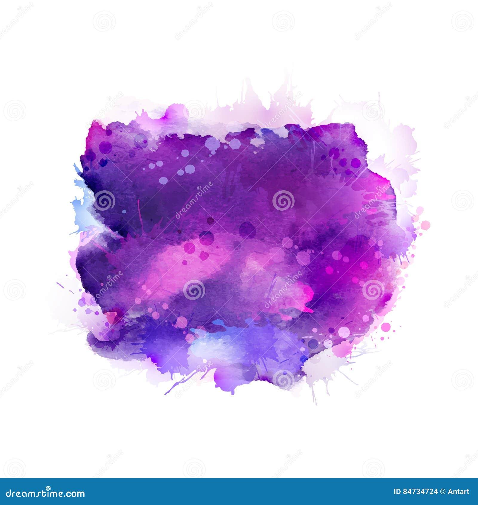 Macchie porpora, viola, lilla e blu dell acquerello Elemento di colore luminoso per fondo artistico astratto