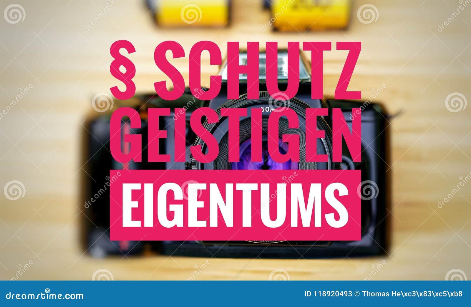 Macchina fotografica con in tedesco il geistigen Eigentums di Schutz nella protezione del englisch della proprietà intellettuale