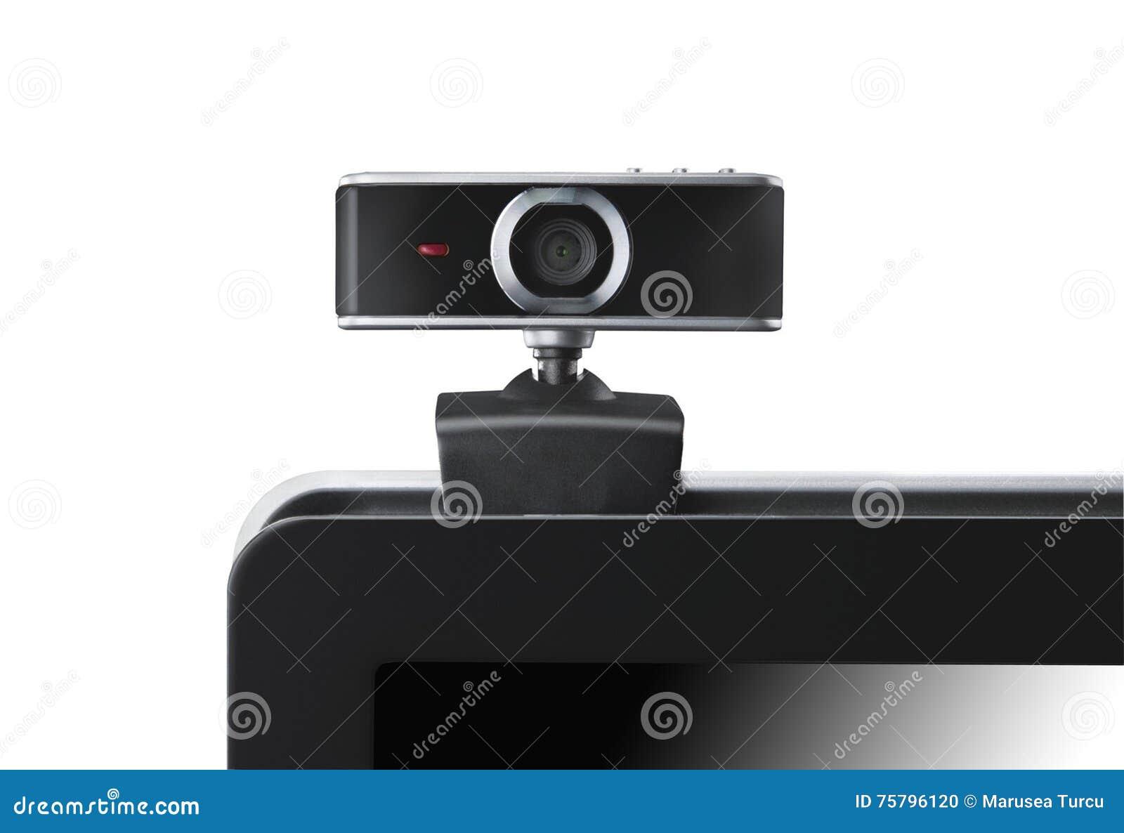 Macchina fotografica di Web sul computer portatile che fissa voi