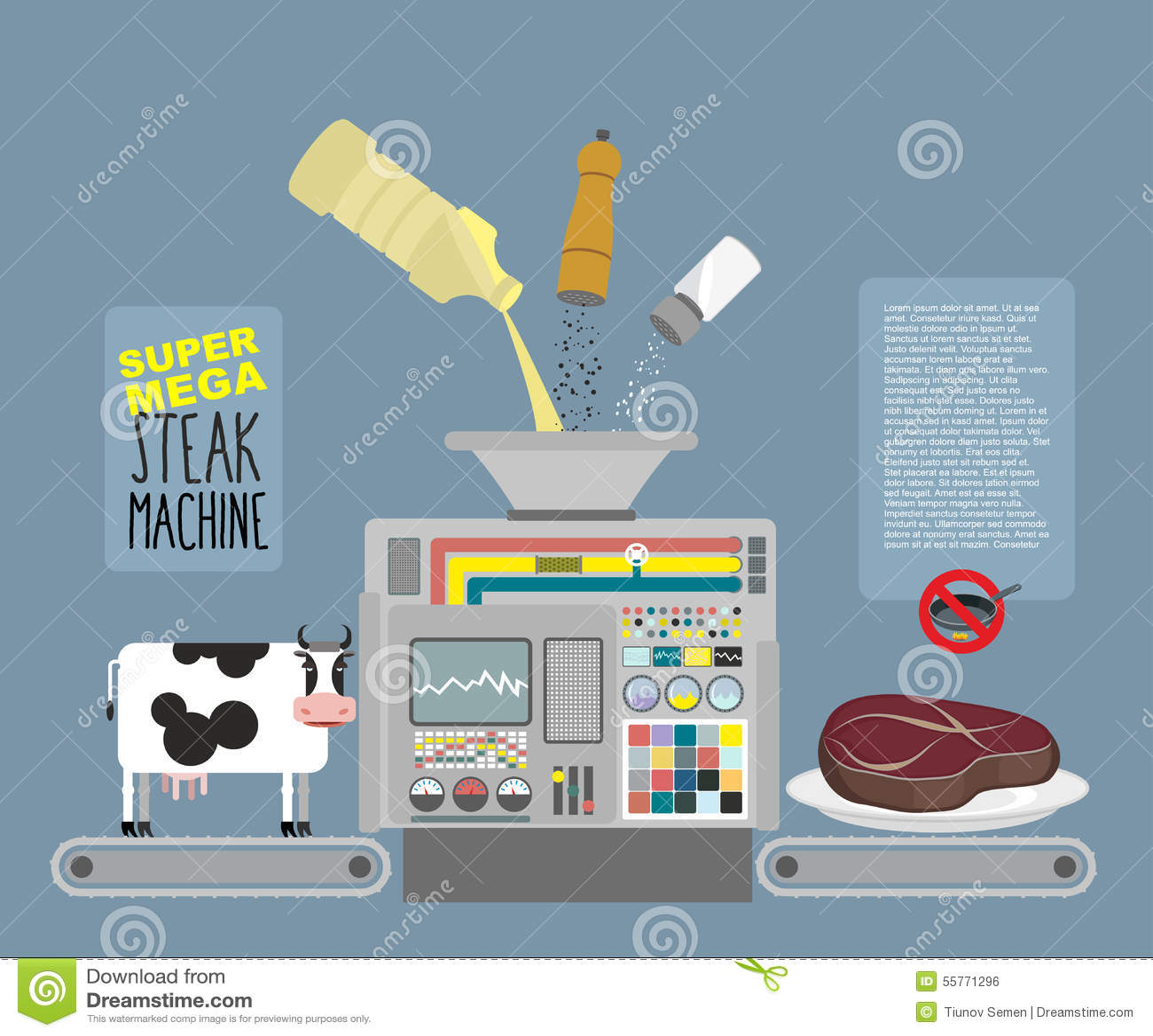 Macchina mega eccellente della bistecca linea automatica per produzione di carne illustrazione - Macchina per cucinare ...