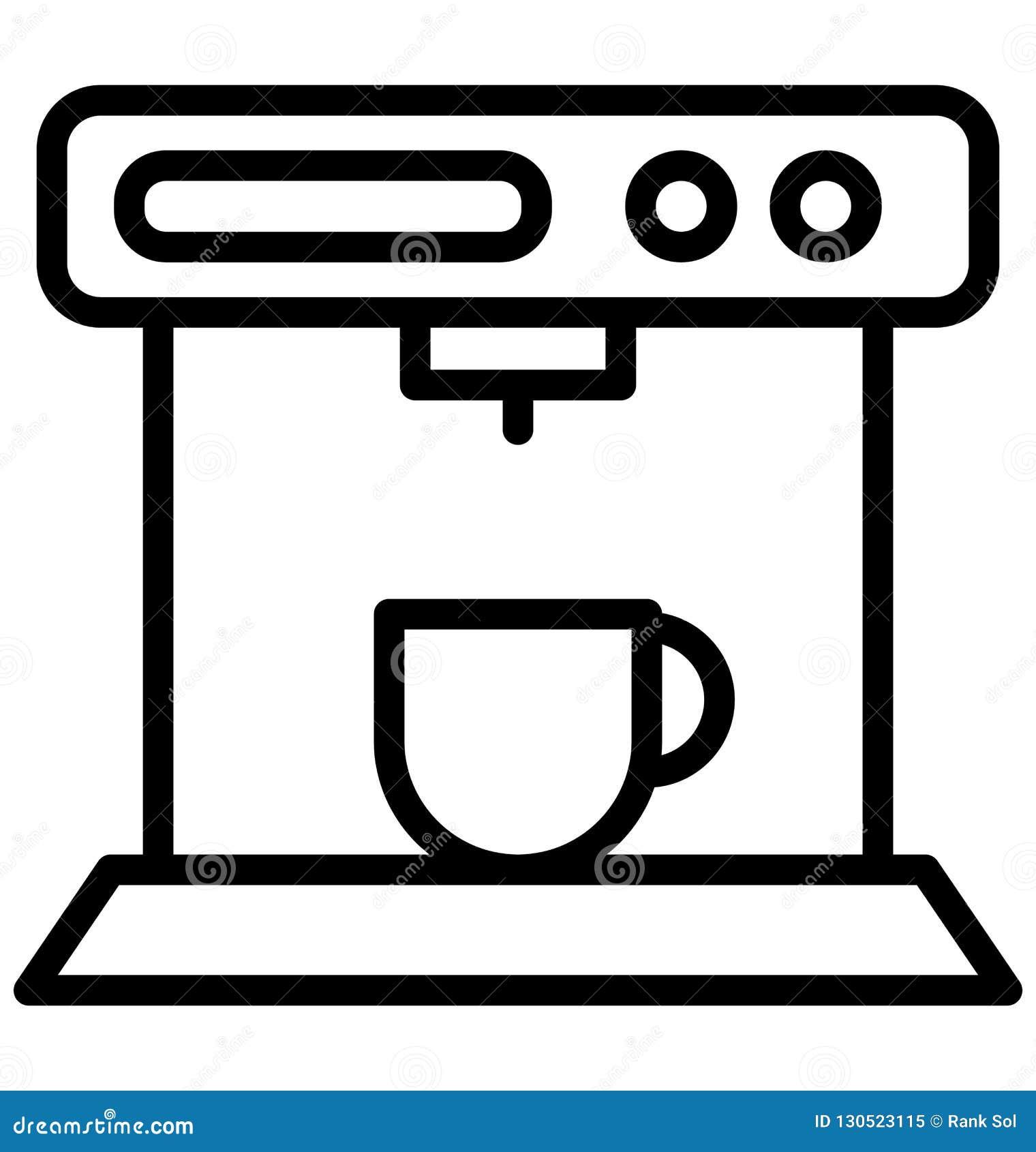 Macchinetta del caffè, icona isolata di vettore del creatore di caffè espresso che può essere pubblicata facilmente in tutta la d