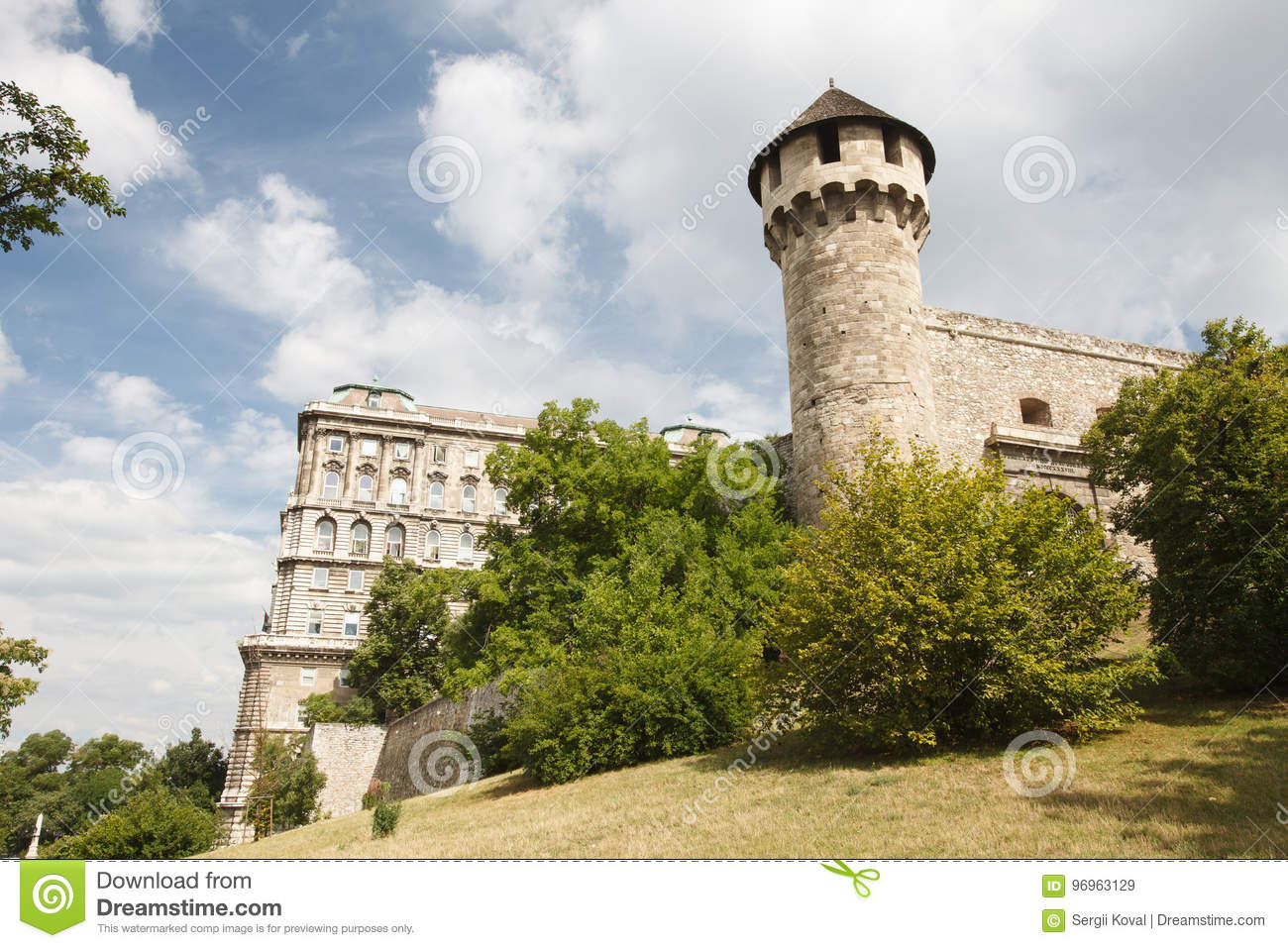 Mace tower and a medieval fortress in the Buda Castle in Budapest