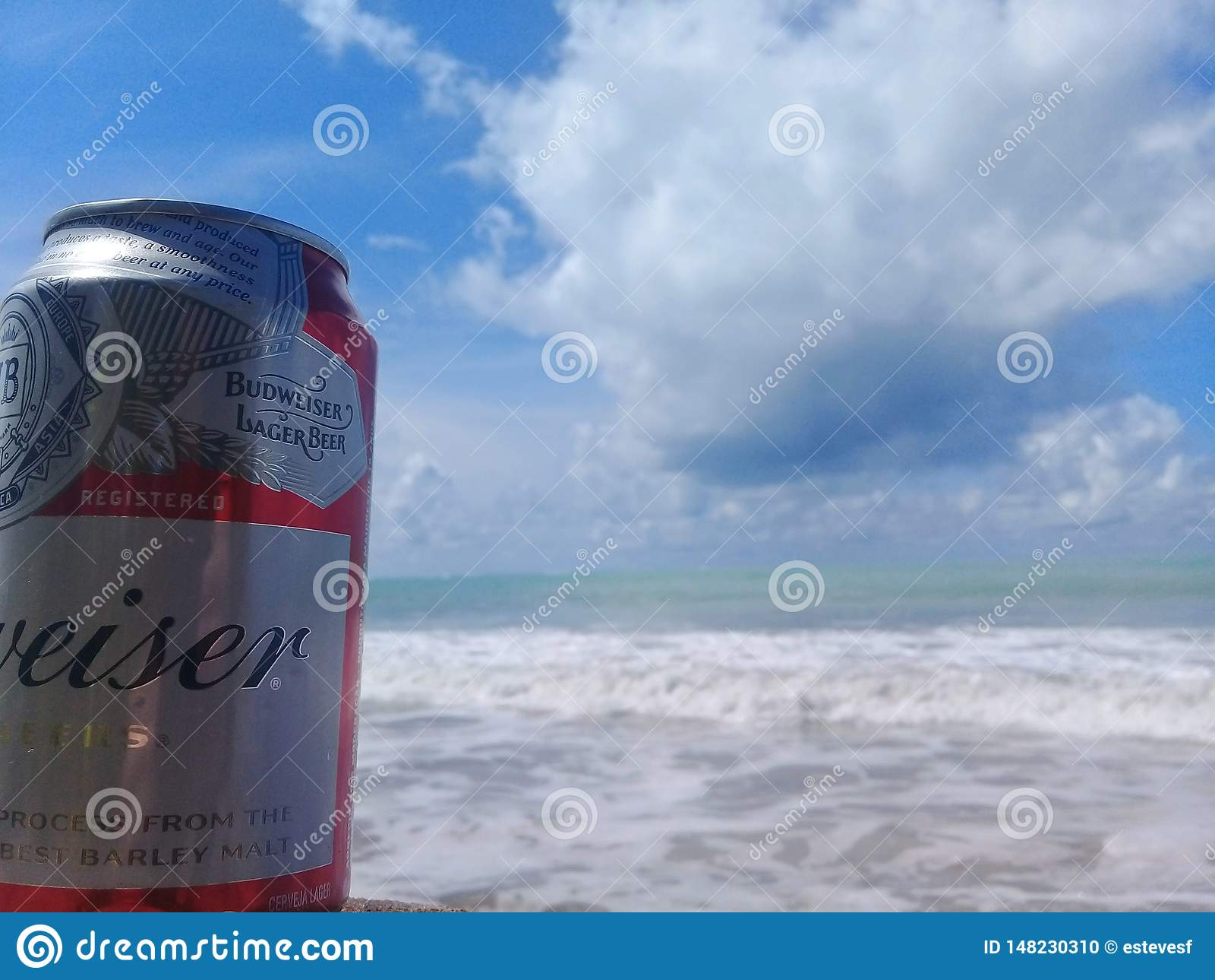 MACEIO, AL BRAZYLIA, Maj, - 12, 2019: Budweiser zimny piwo, pi?kny morze za i niebo i