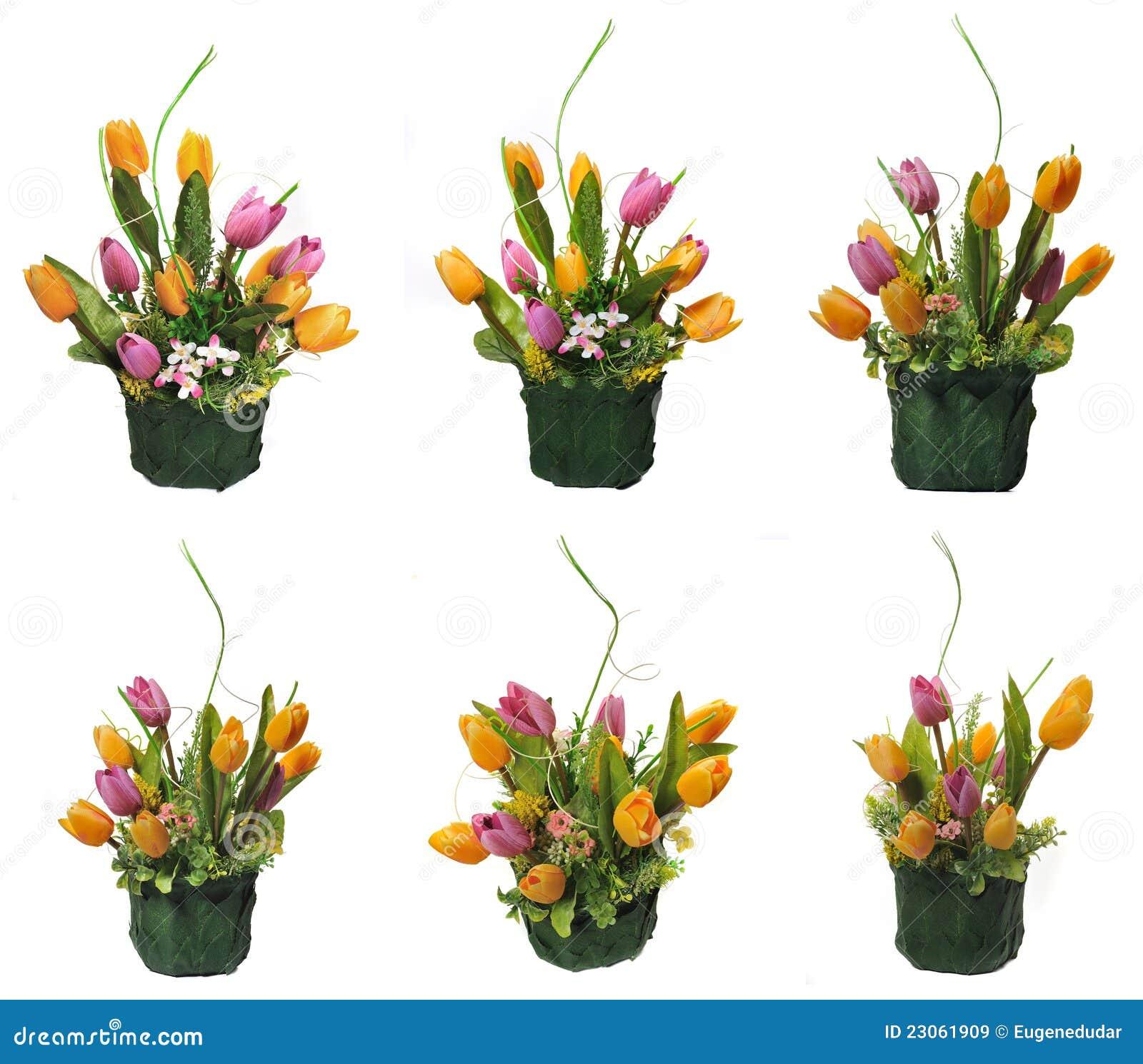Maceta Verde Con Las Flores Artificiales Im Genes De