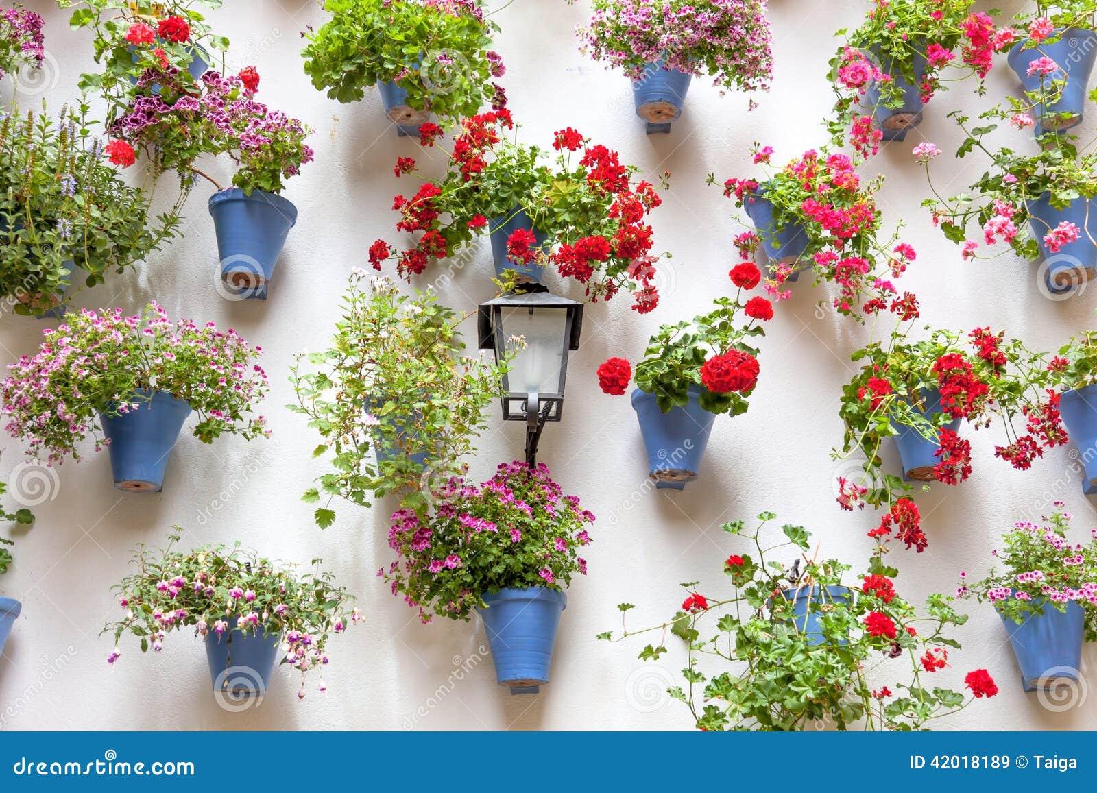 Macetas azules y flores rojas en una pared blanca con el - Macetas para pared ...