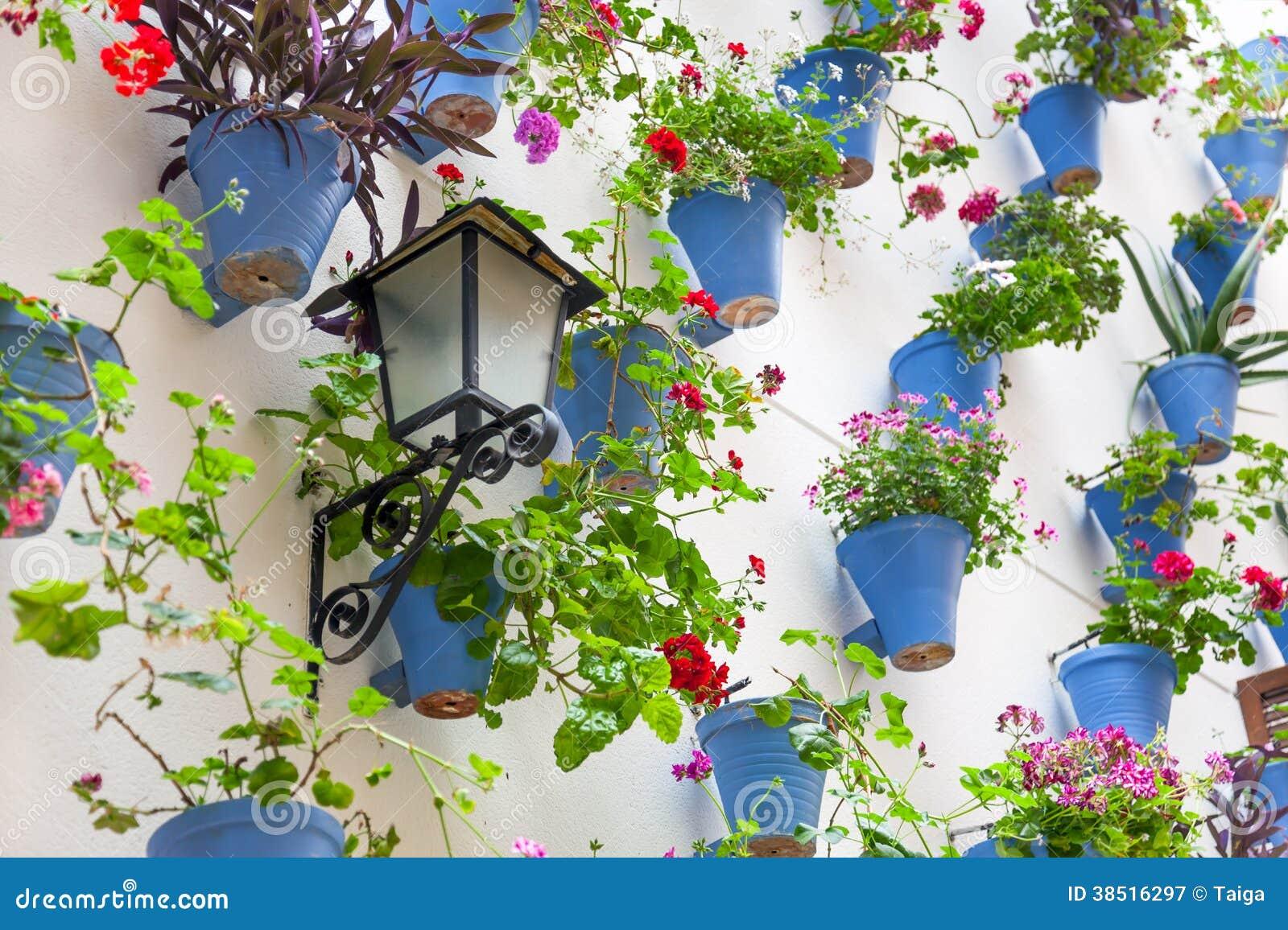 Macetas y flores azules en una pared blanca con la - Macetas para pared ...