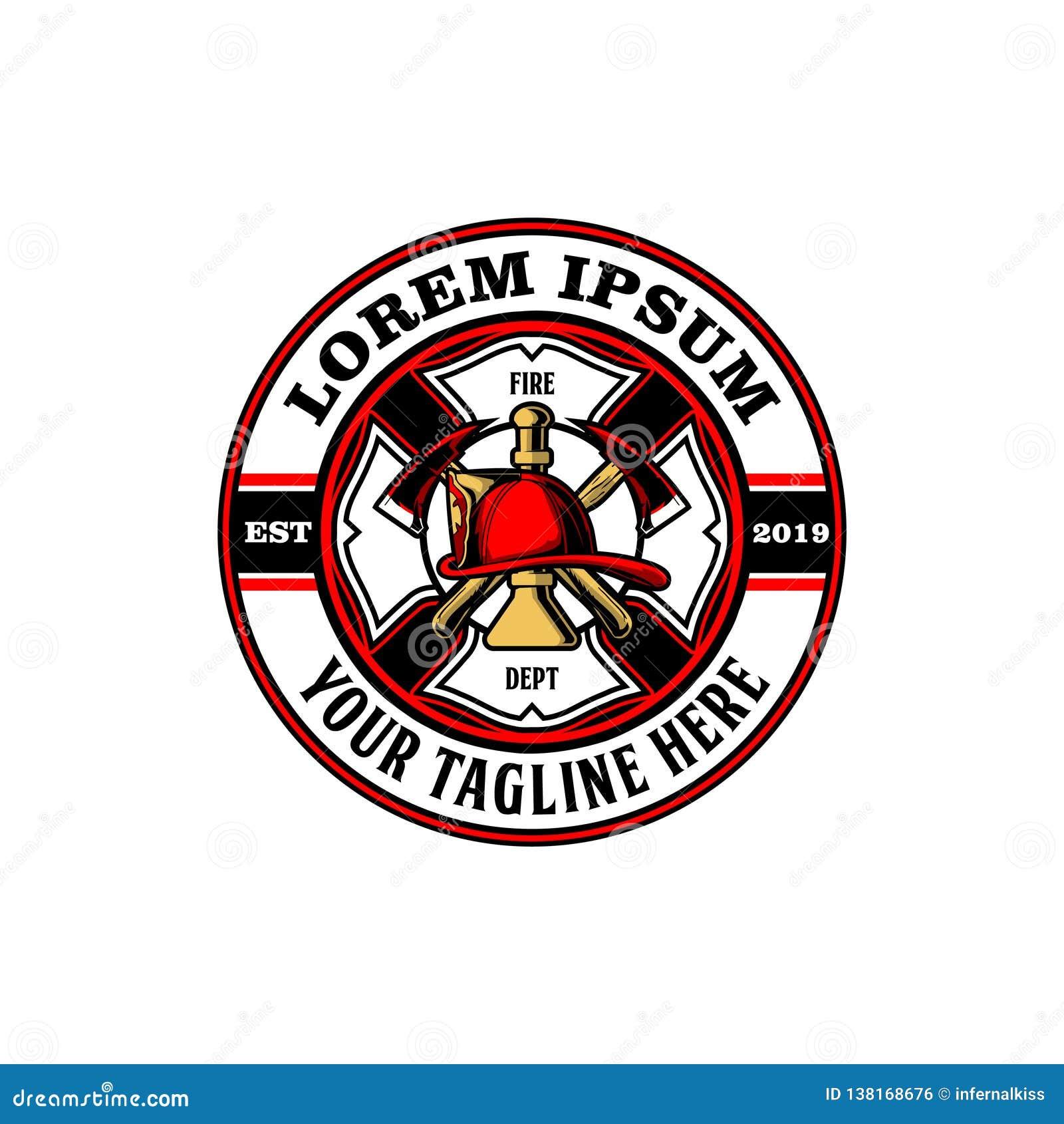 Machado com molde do logotipo do vetor do chifre e do bombeiro do capacete