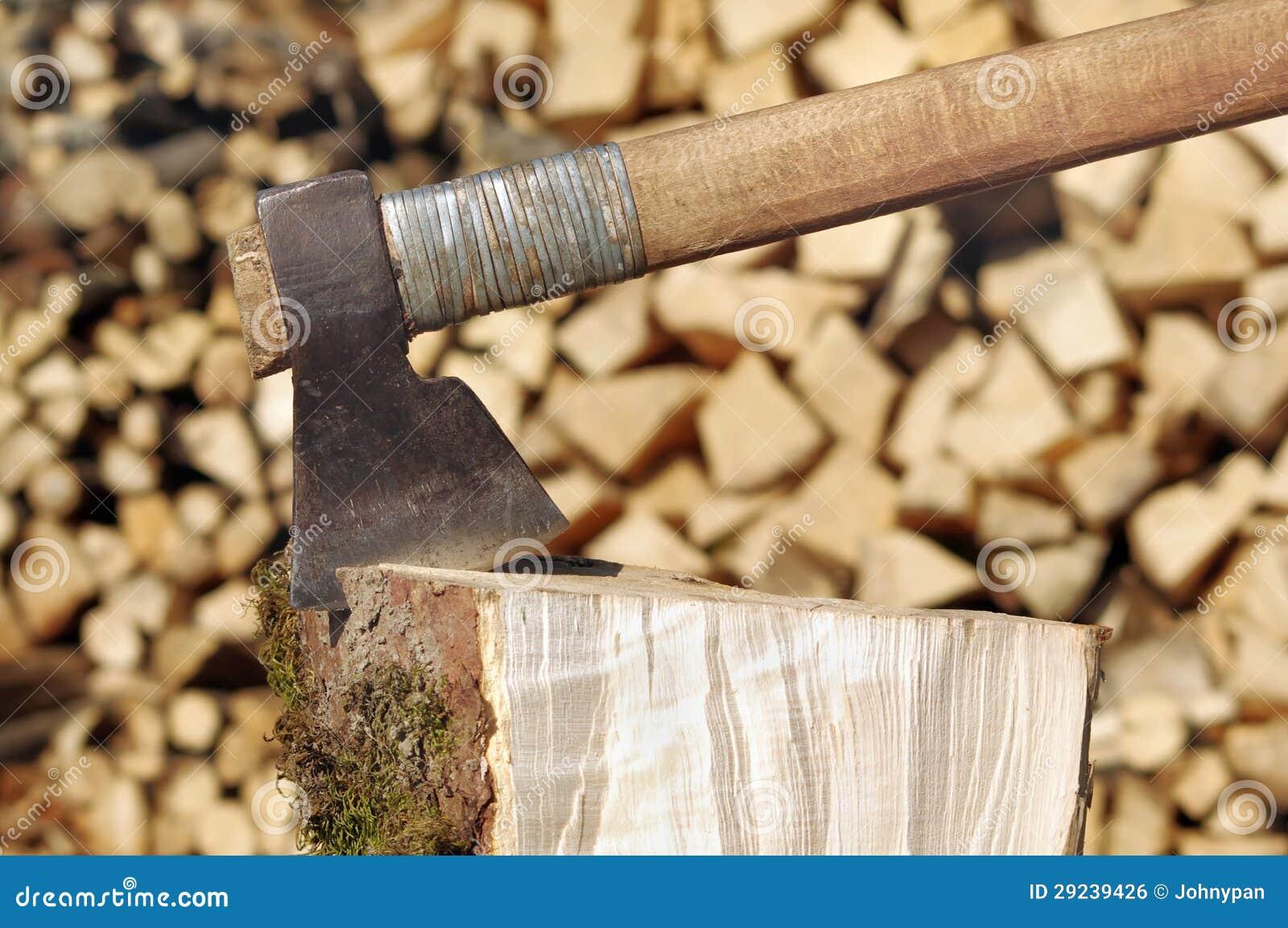 Download Machado na madeira foto de stock. Imagem de floresta - 29239426