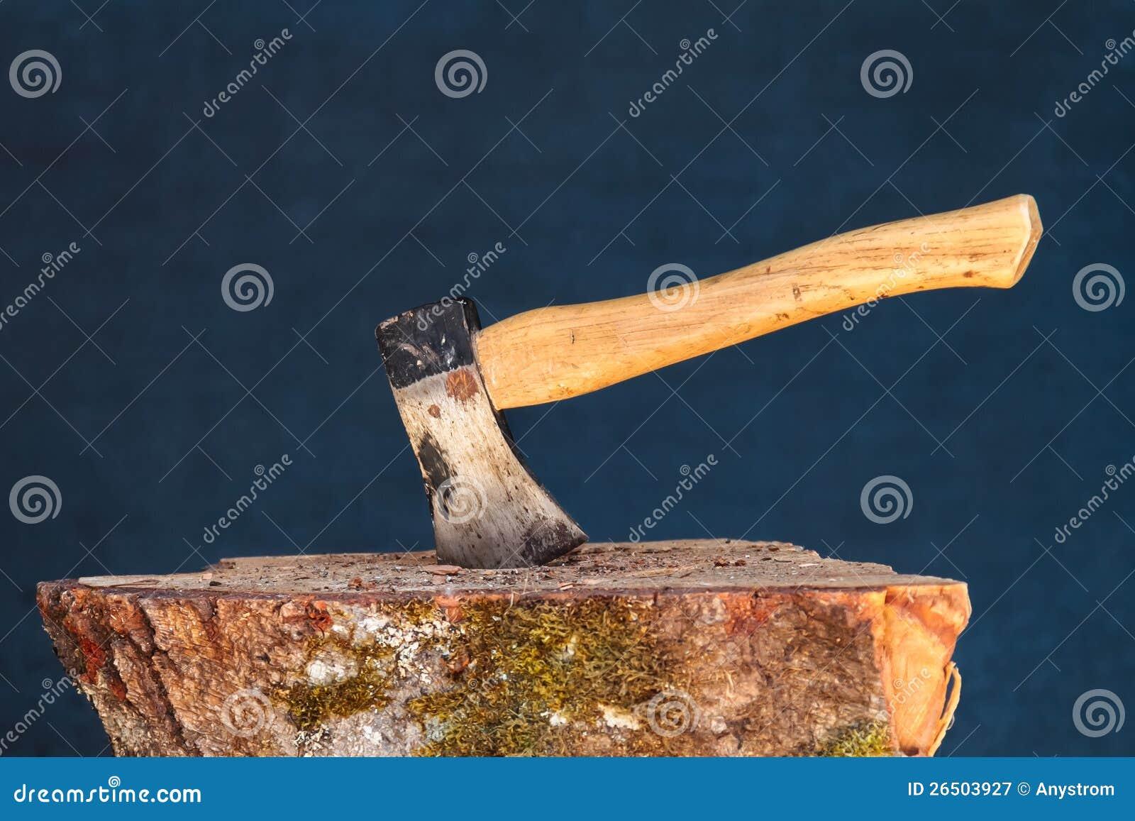 Machado no bloco de madeira