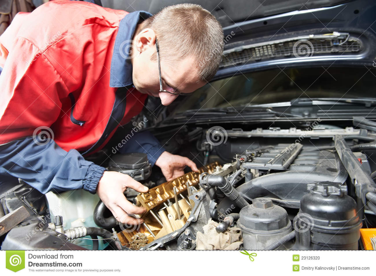 Machanic Repairman At Automobile Car Engine Repair Stock Photo Image 23126320