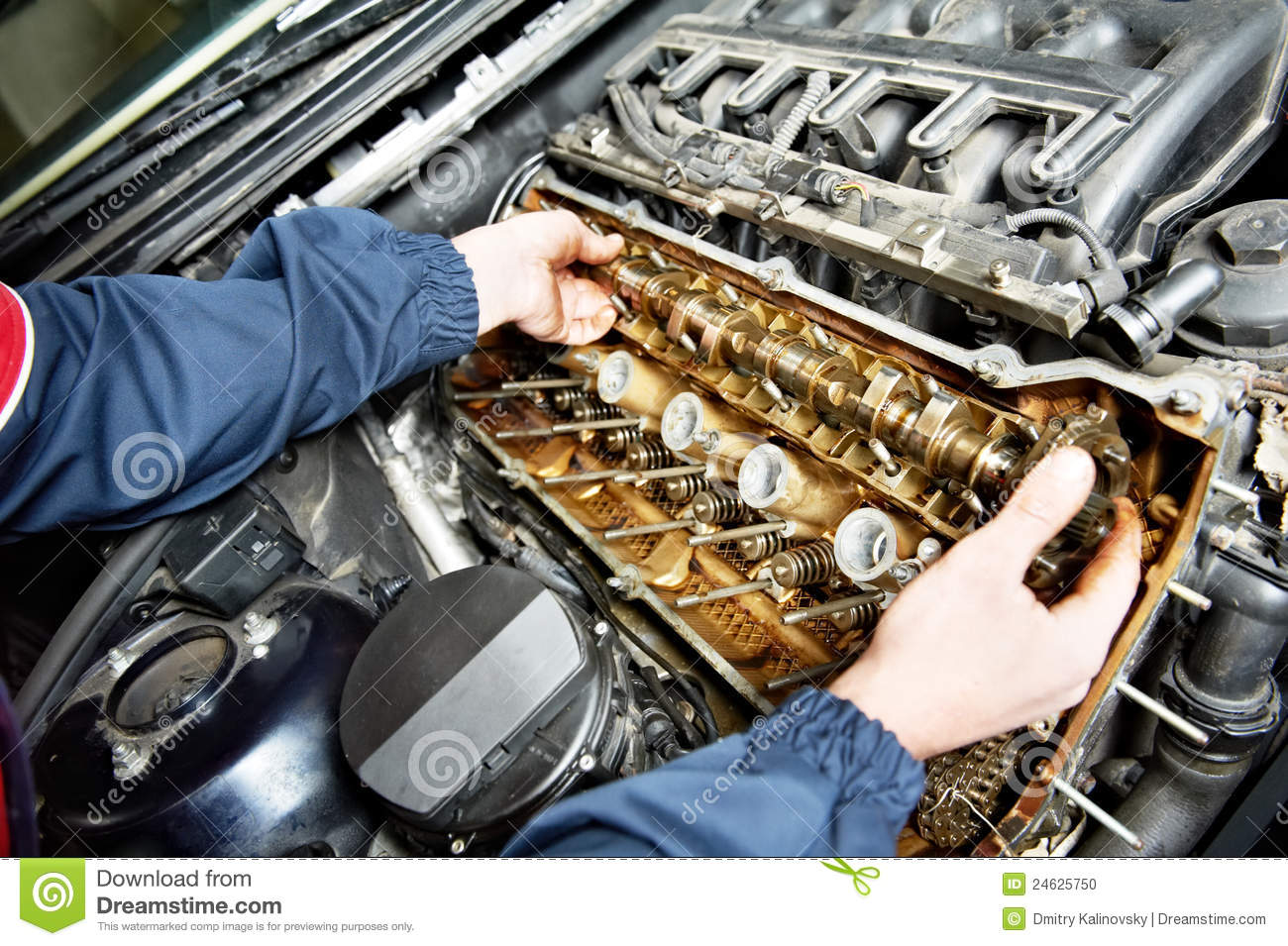 Machanic Repairman At Automobile Car Engine Repair Stock