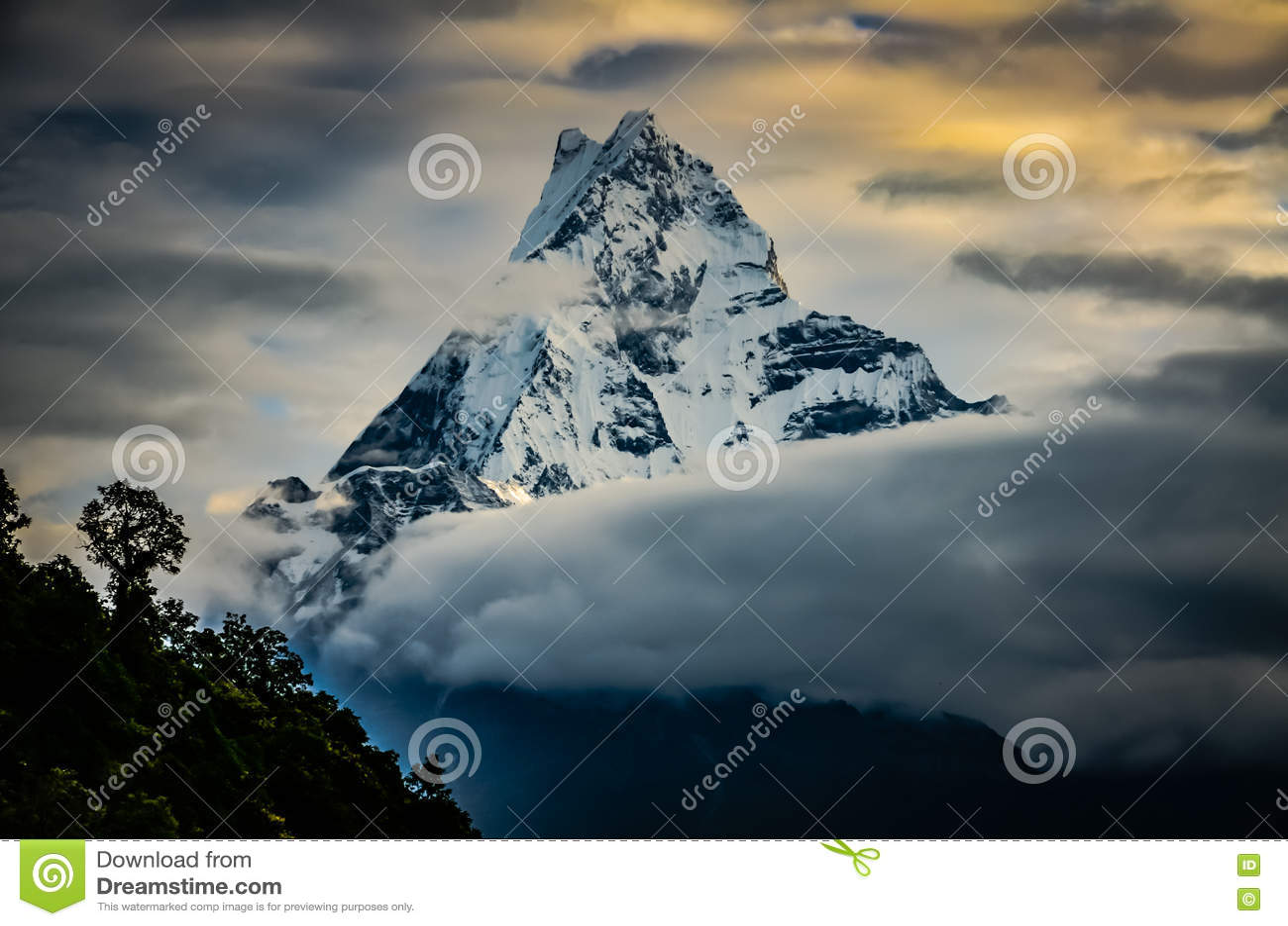 Machapuchare fishtail mountain stock photo image 78712511 for Peak fishing times
