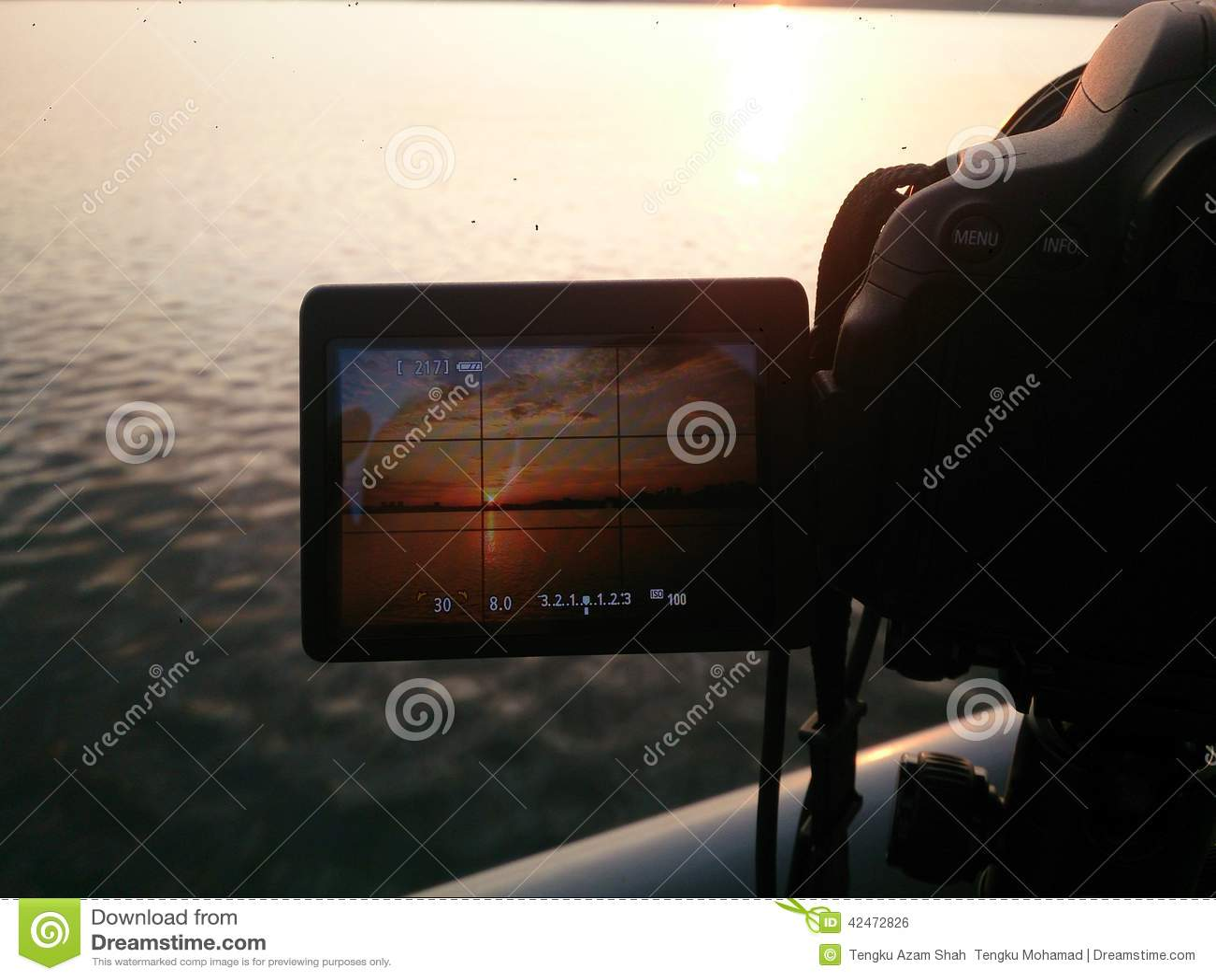 Machen des Sonnenuntergangfotos