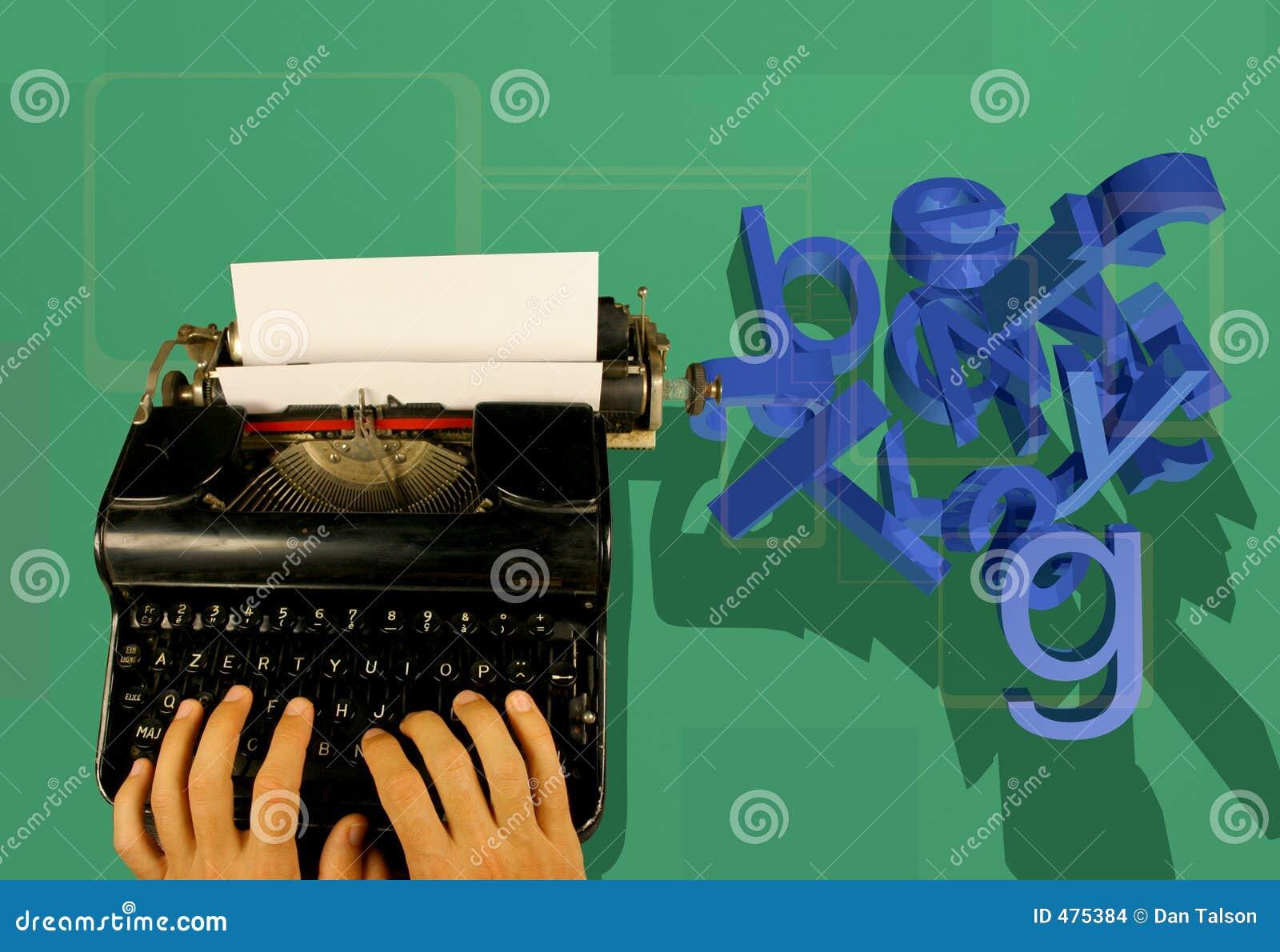 Machine à écrire et lettres 3d