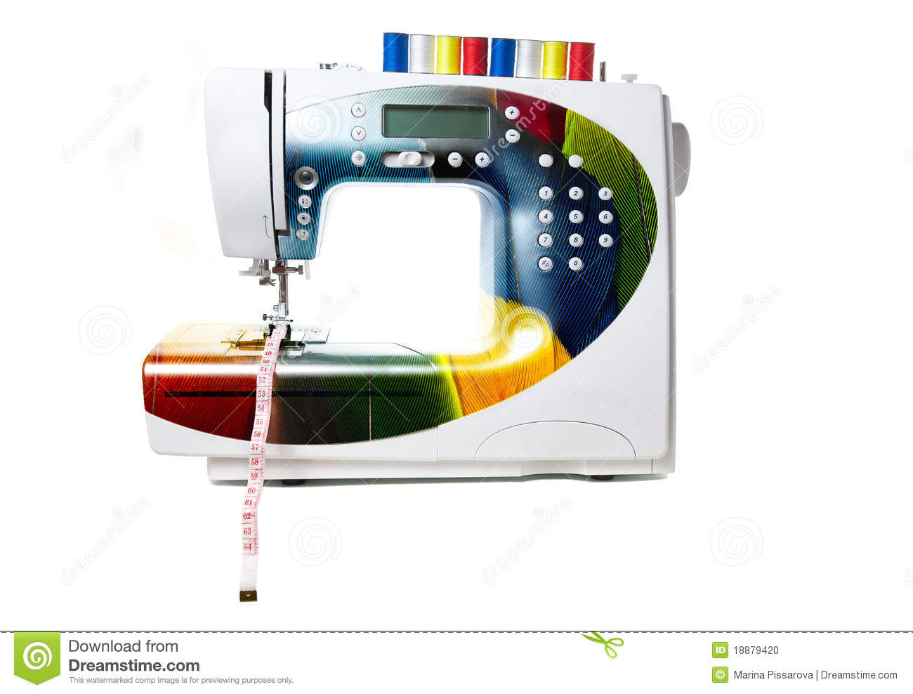 Machine coudre moderne color e photo stock image 18879420 for Machine a coudre 3d