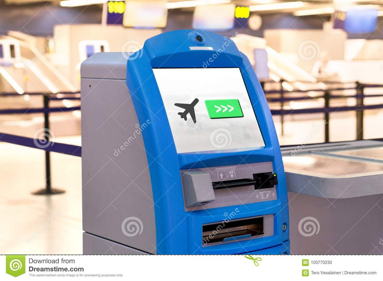 Machine At Airport For Check In Stock Photo Image Of Express