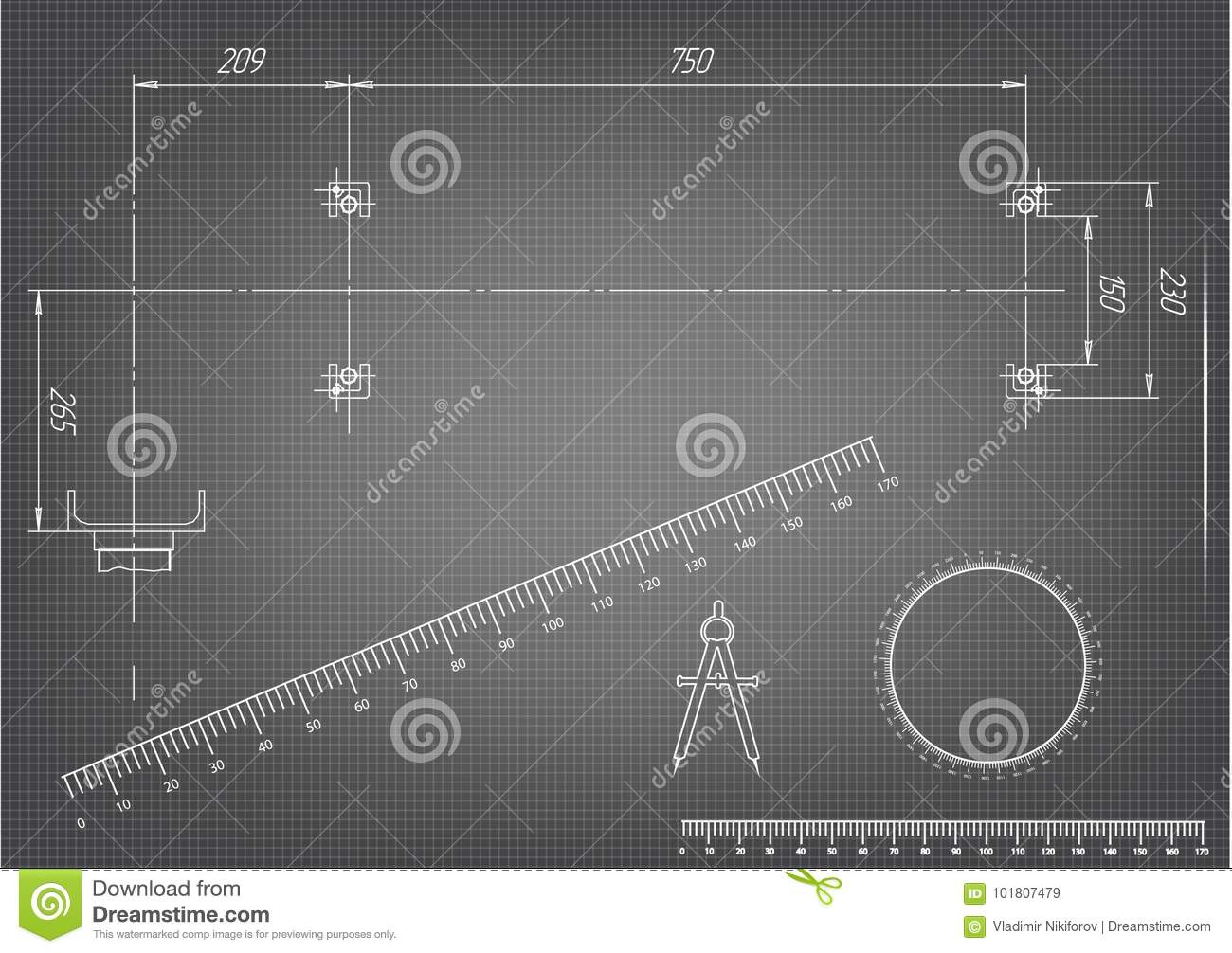 Machine-building Drawings On A Gray Background Stock Vector