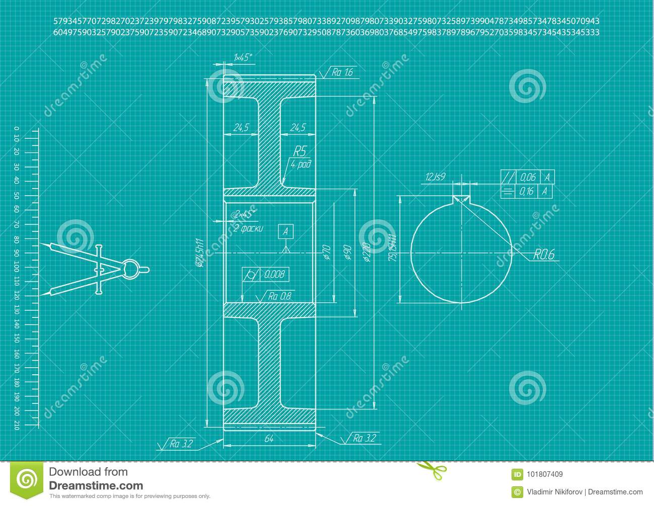 Machine Building Drawings On A Turquoise Stock Vector Illustration
