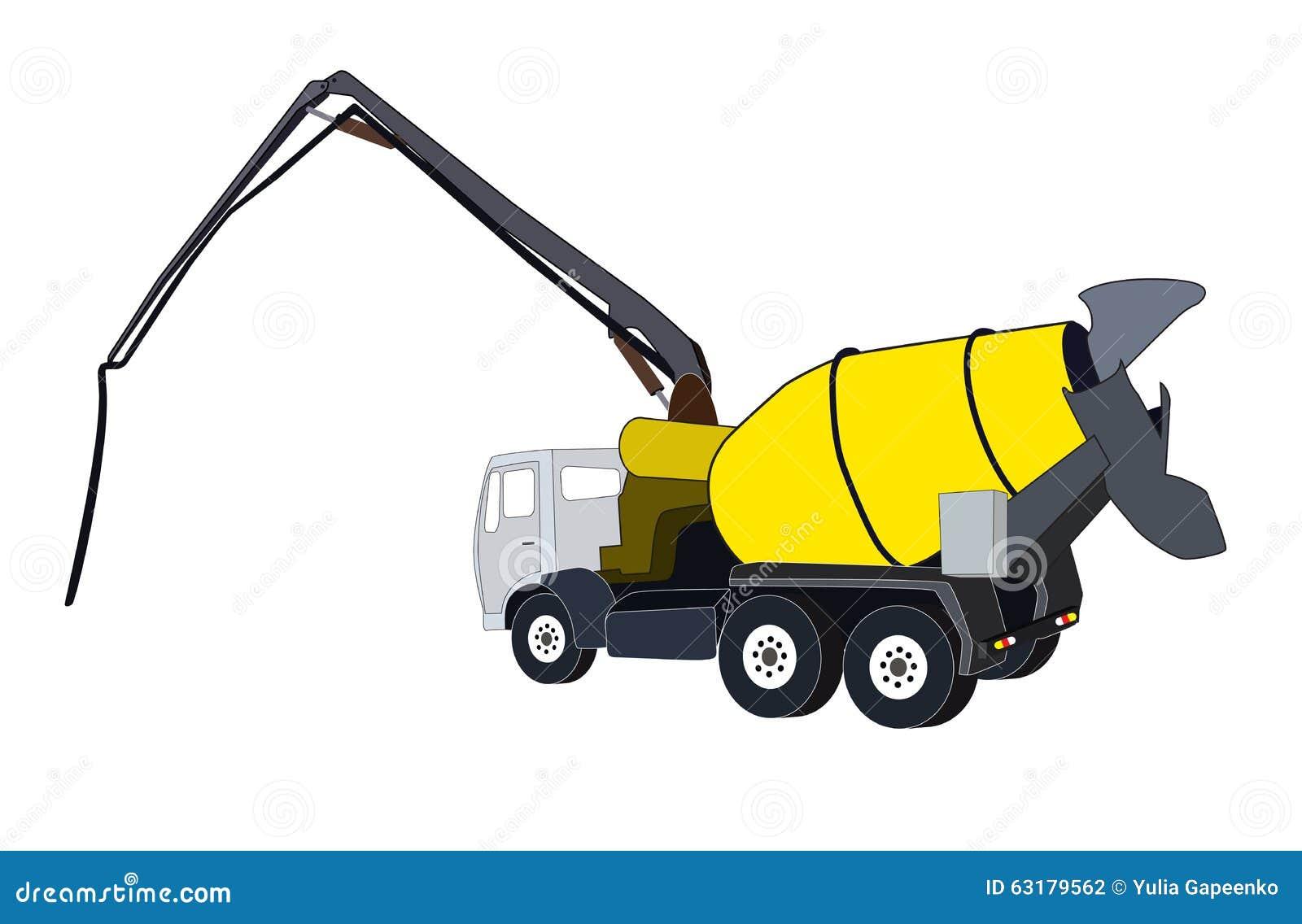 Concrete Clip Art : Machine concrete pump vector illustration stock