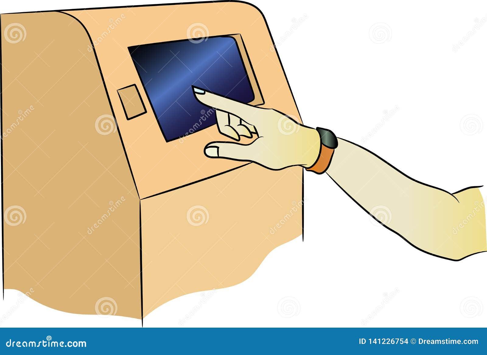 Machine d atmosphère de vecteur avec l attachement Terminal pour le paiement La main avec un bracelet de forme physique est inclu