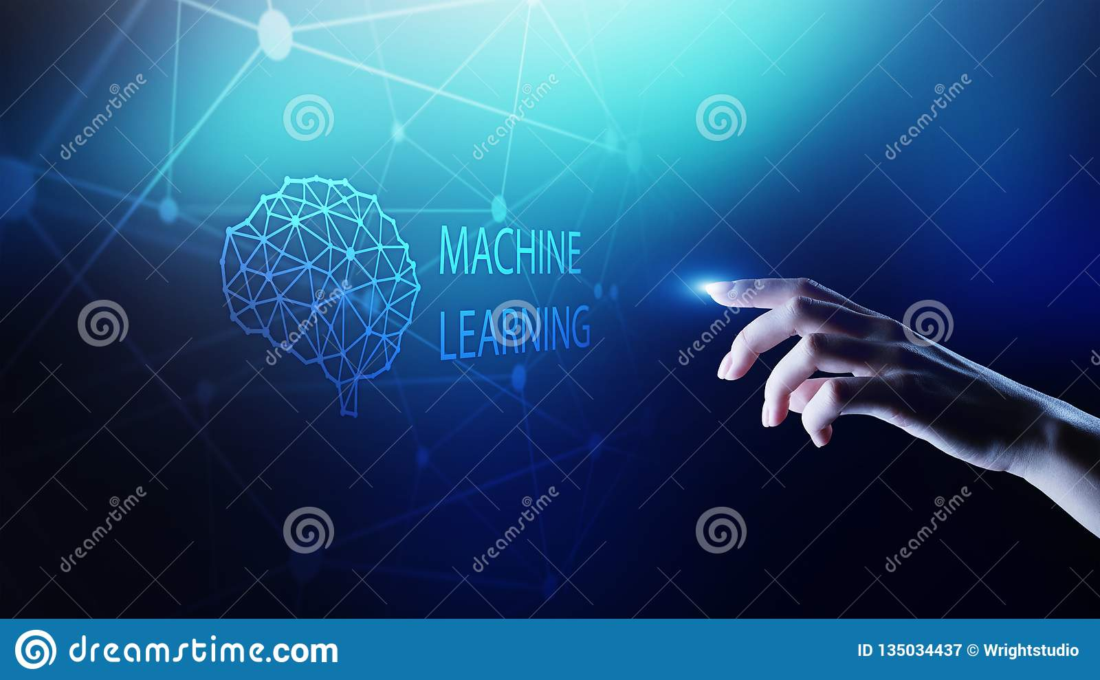 Machine Deep learning algorithms and AI Artificial intelligence. Internet and technology concept on virtual screen.