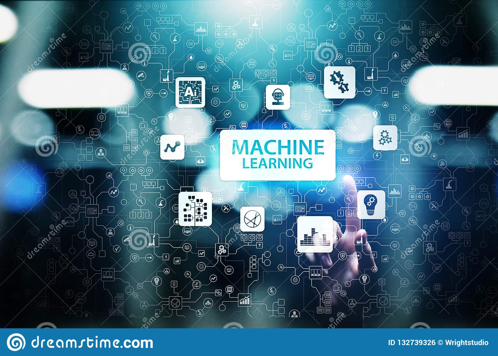 Machine Deep learning algorithms, Artificial intelligence AI , Automation and modern technology in business as concept.