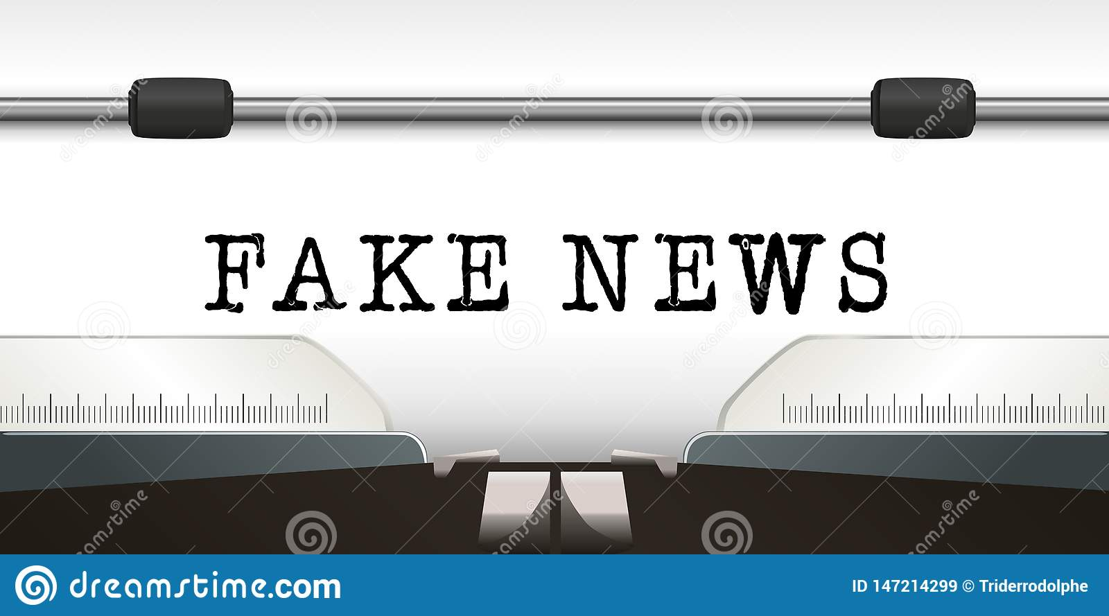 The word fake news is write on a white sheet of a typewriter.