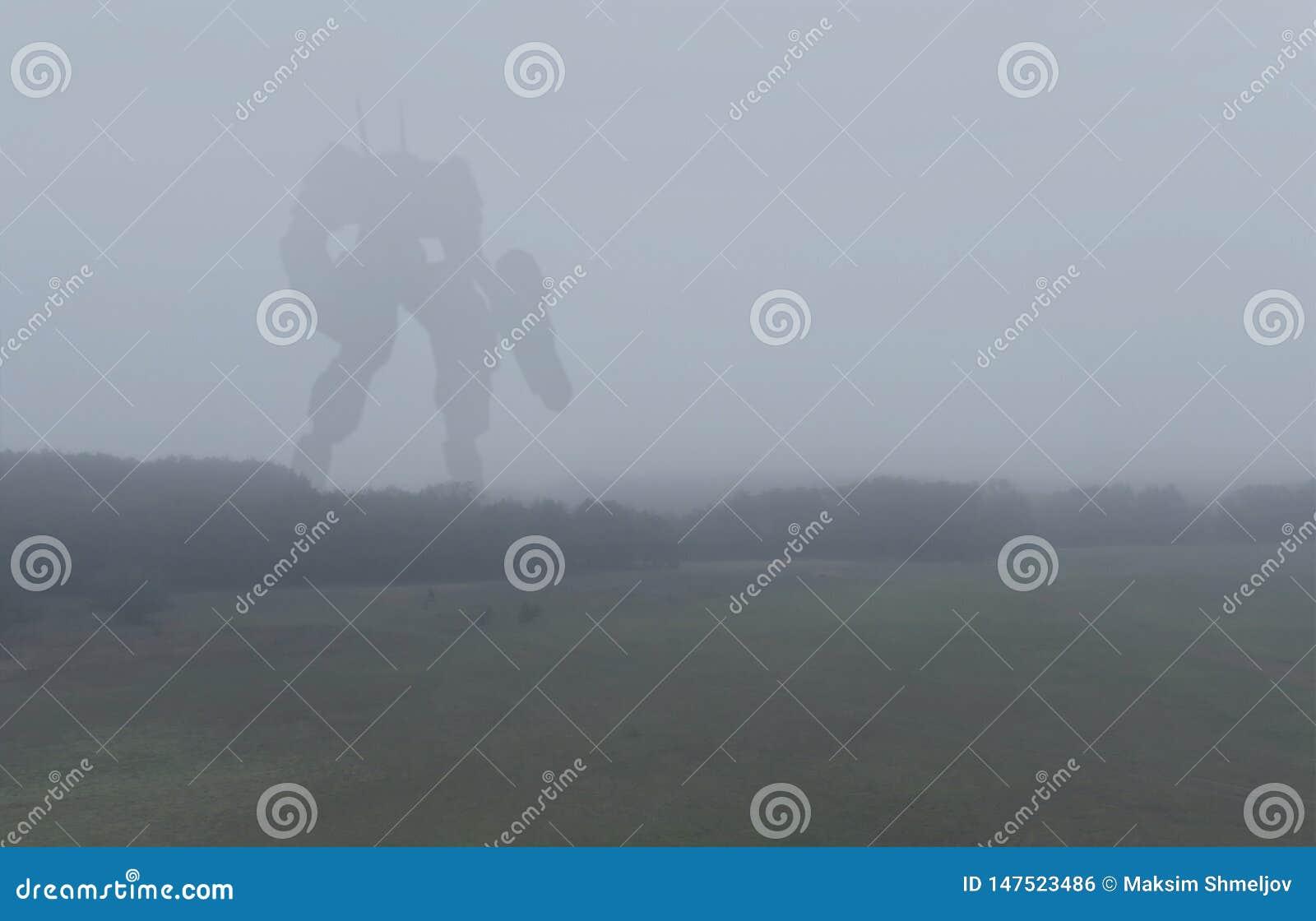 Machine g?ante militaire de bataille de la science fiction Robot de humano?de dans la campagne d apocalypse Dystopia, science-fic