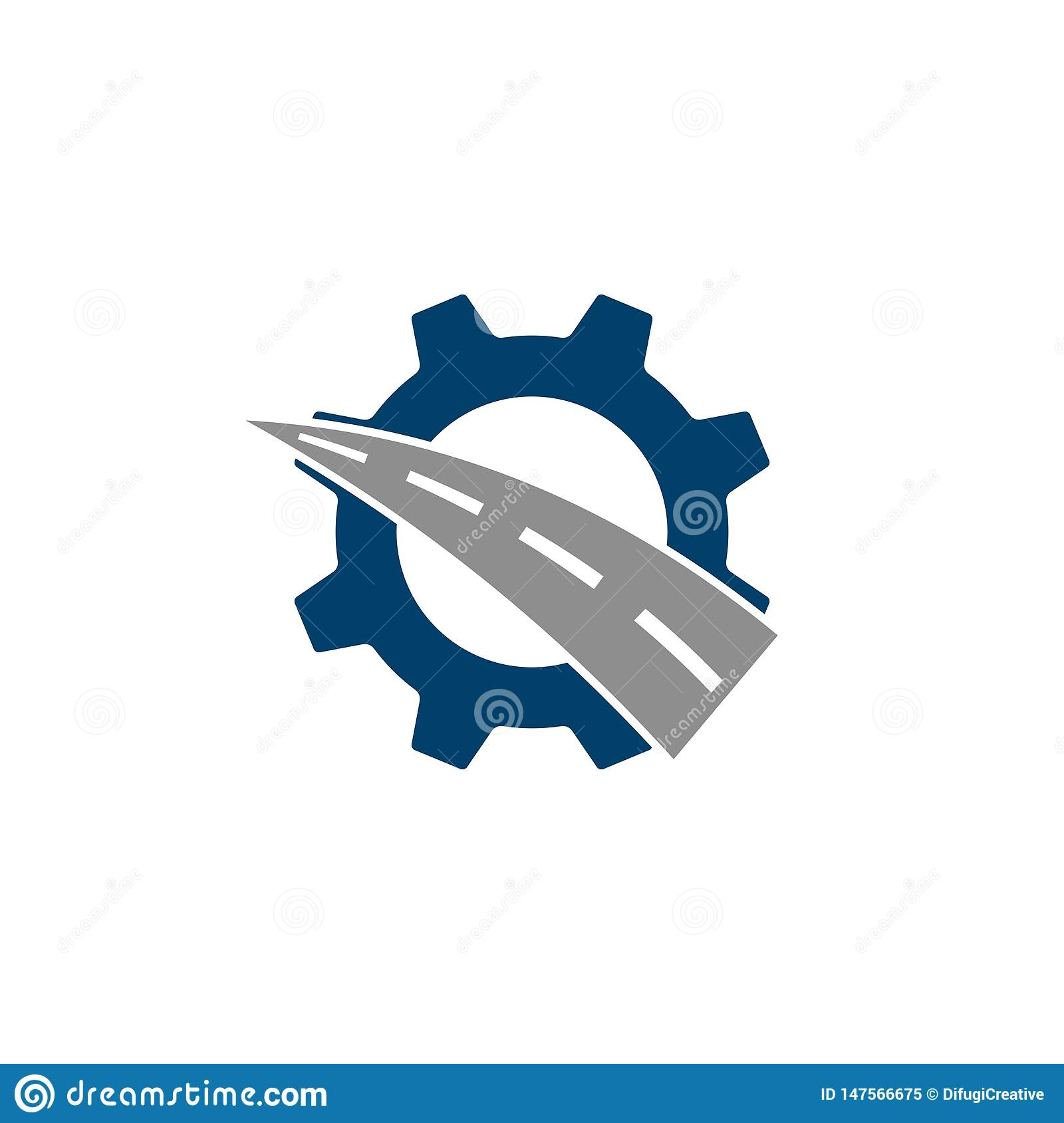 Gear and road combination logo.