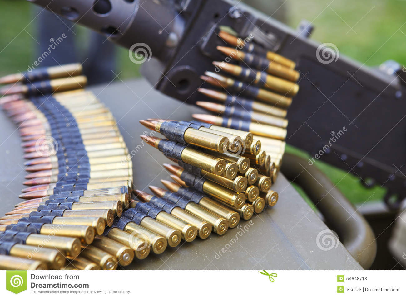 Machine Gun With Ammunition Belt Stock Photo - Image: 54648718