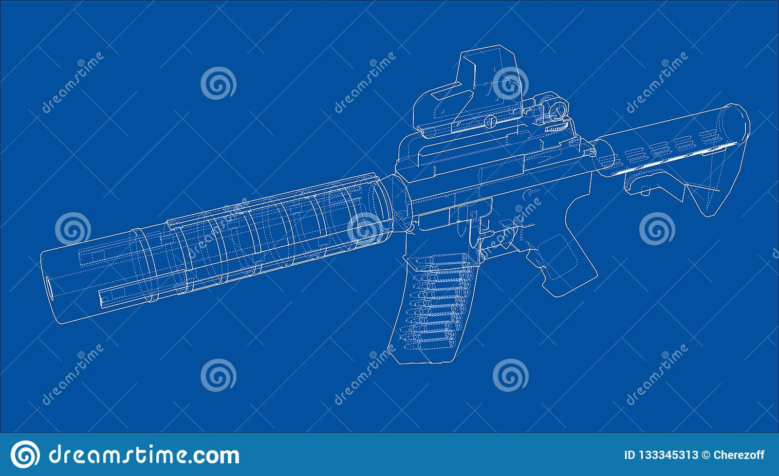 Machine Gun  3d Illustration Stock Illustration - Illustration of