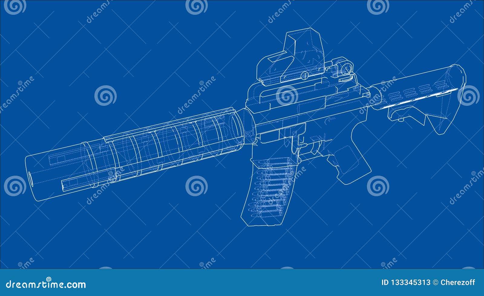 Machine Gun  3d Illustration Stock Illustration - Illustration of