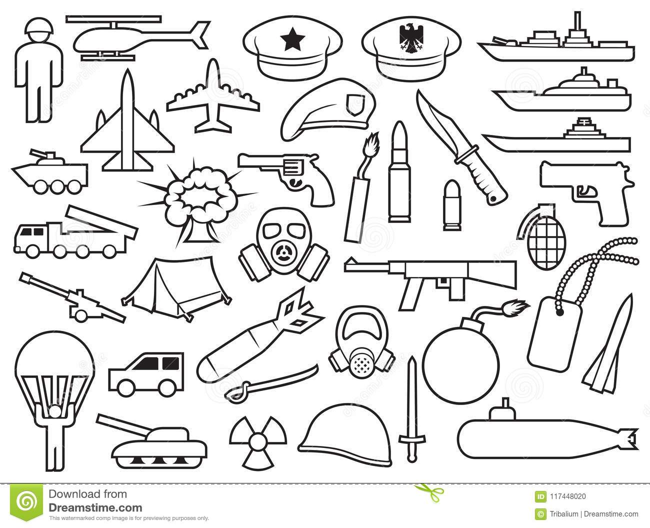Military thin line icons stock vector  Illustration of