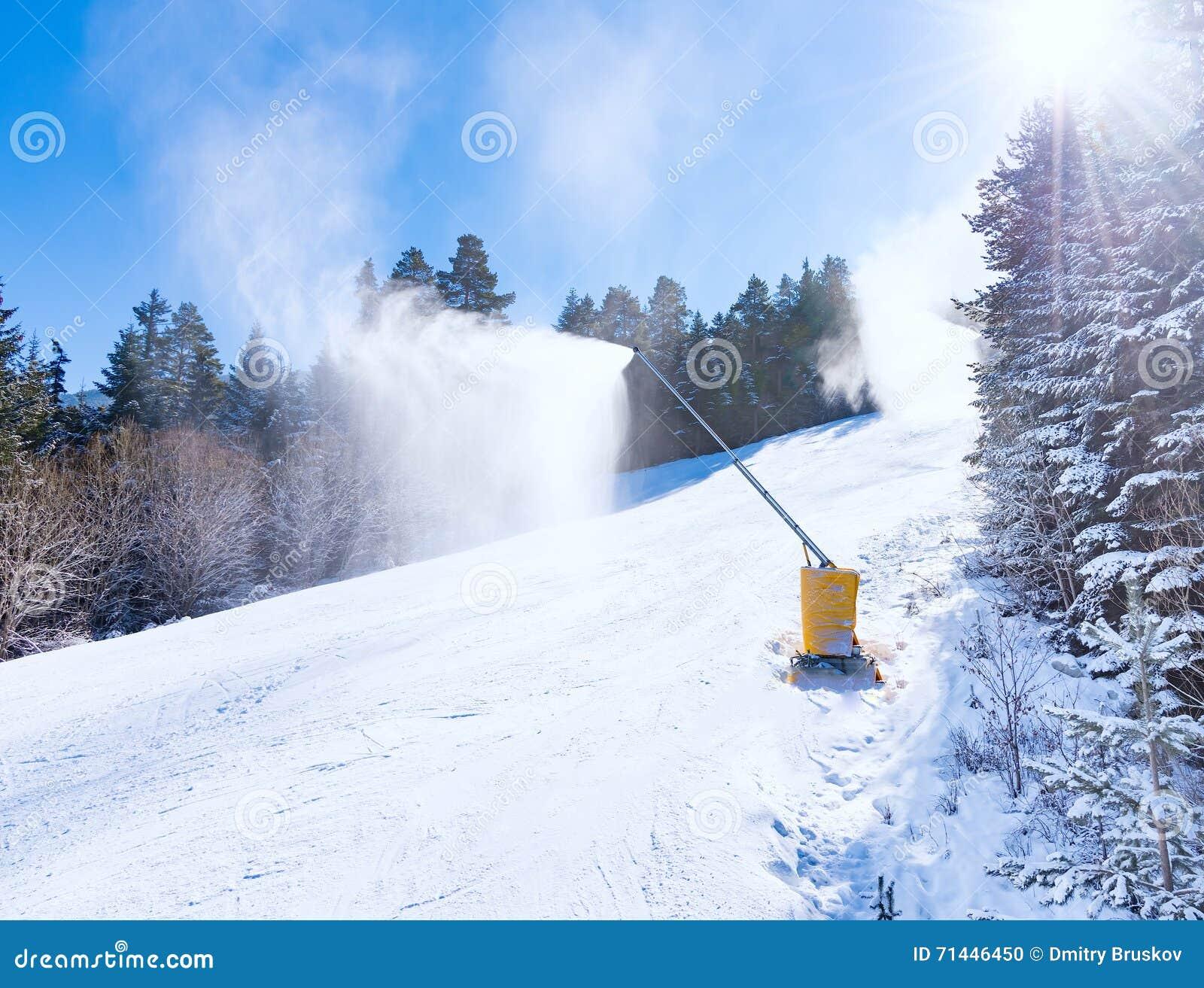 Machine gun snowmaking stock photo image