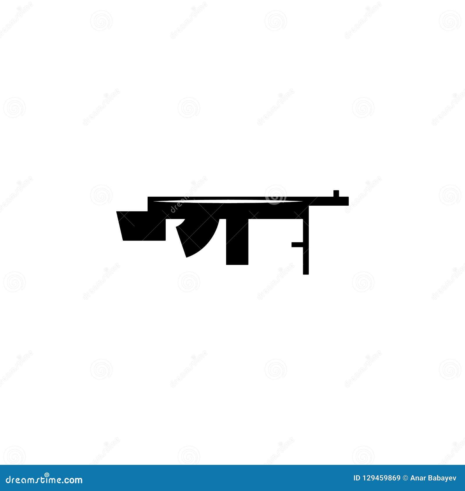 Machine Gun, Weapon Icon  Element Of Military Illustration