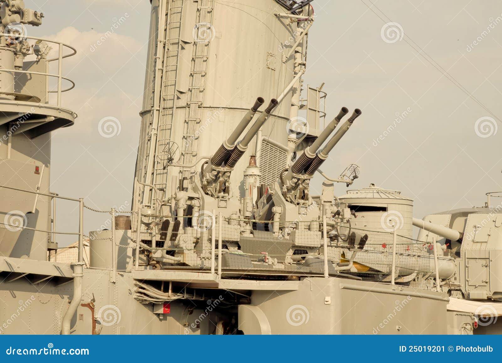 Machine Guns On World War II Destroyer Stock Image - Image of