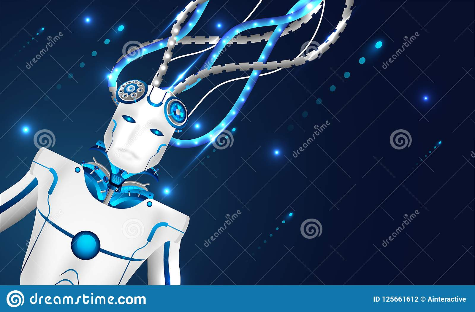 Machine learning or Artificial intelligence (AI), 3d illustration of robot connected with wires to network for mechanical brain c