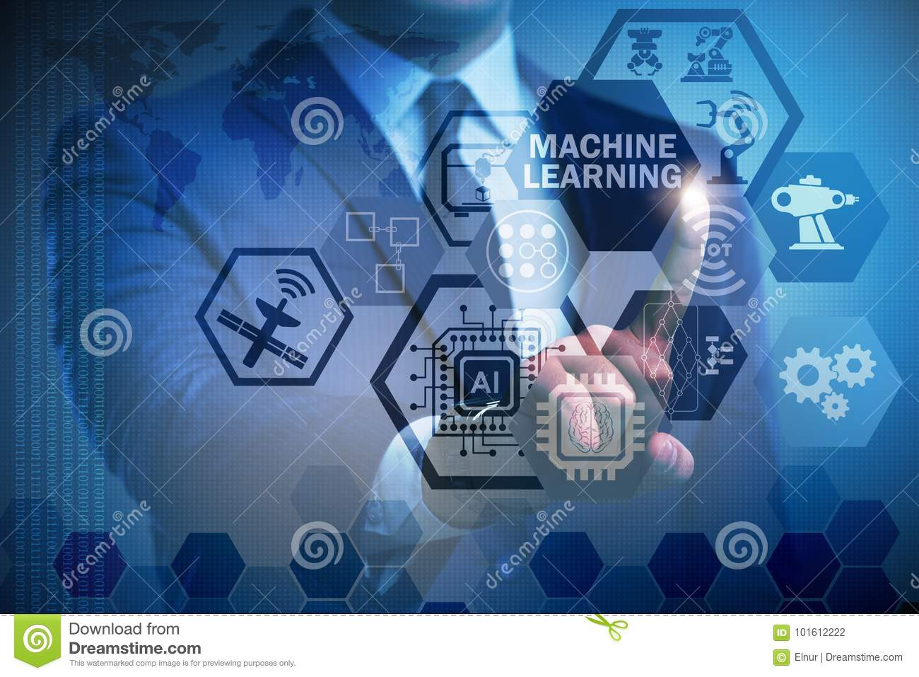 The machine learning computing concept of modern it technology