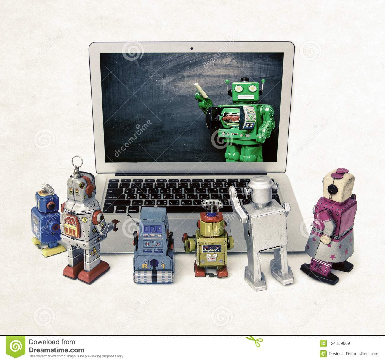 Machine learning concept with retro robots at a laptop computer