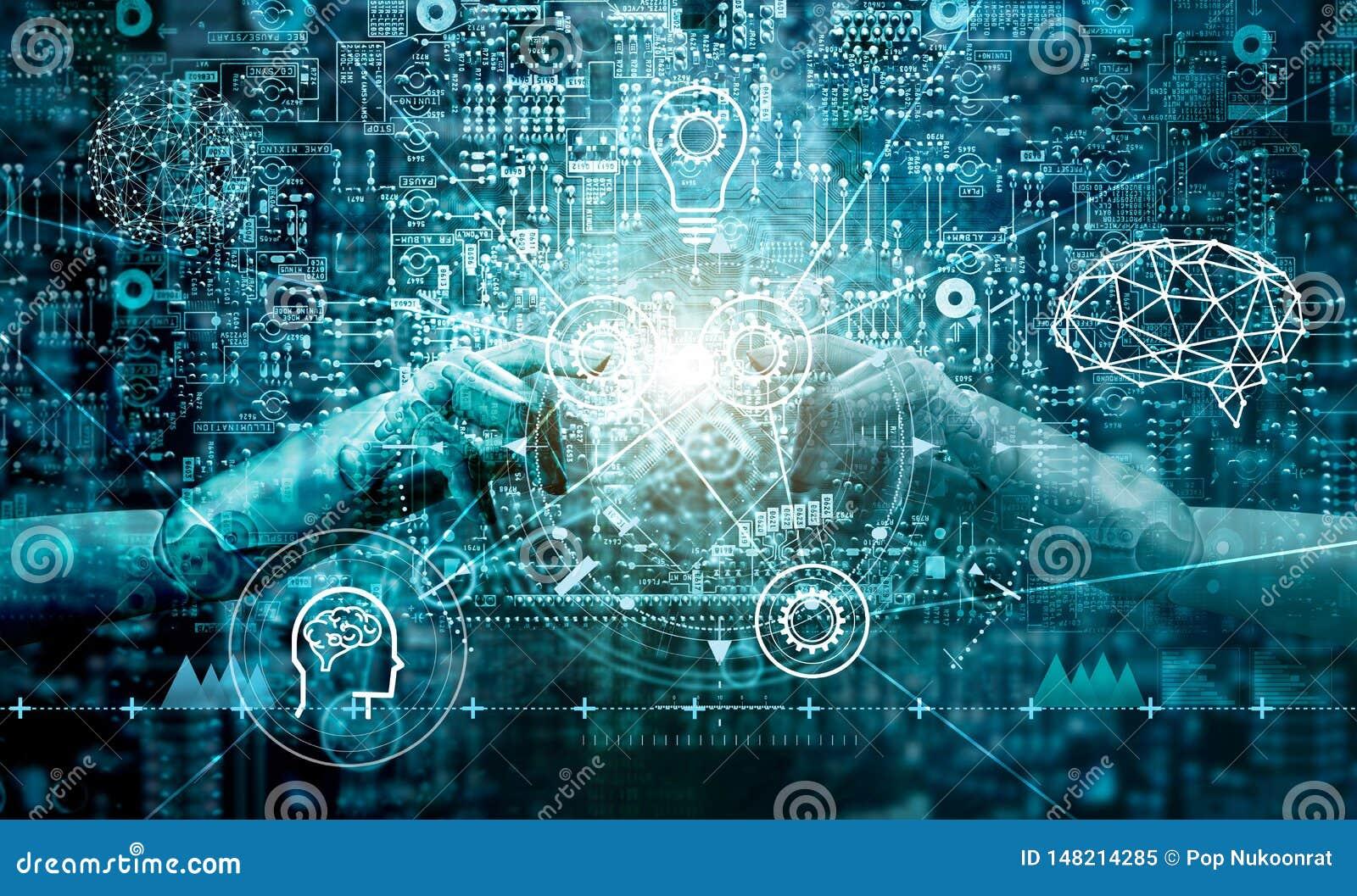 Hand of robots touching on binary data. Futuristic Artificial intelligence AI.