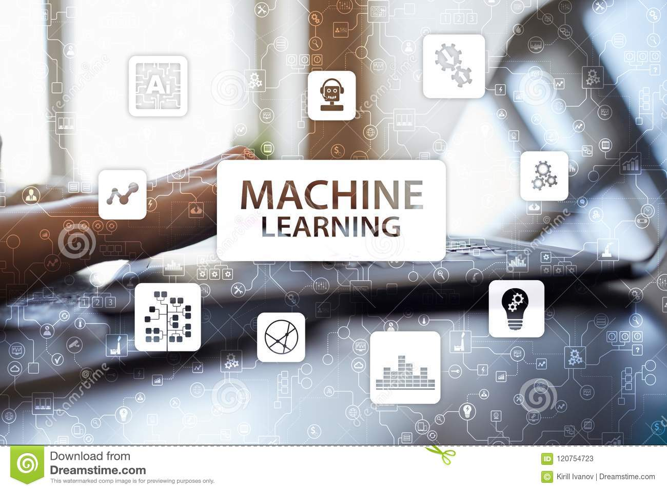 Machine Learning. Text and icons on virtual screen. Business, internet and technology concept.