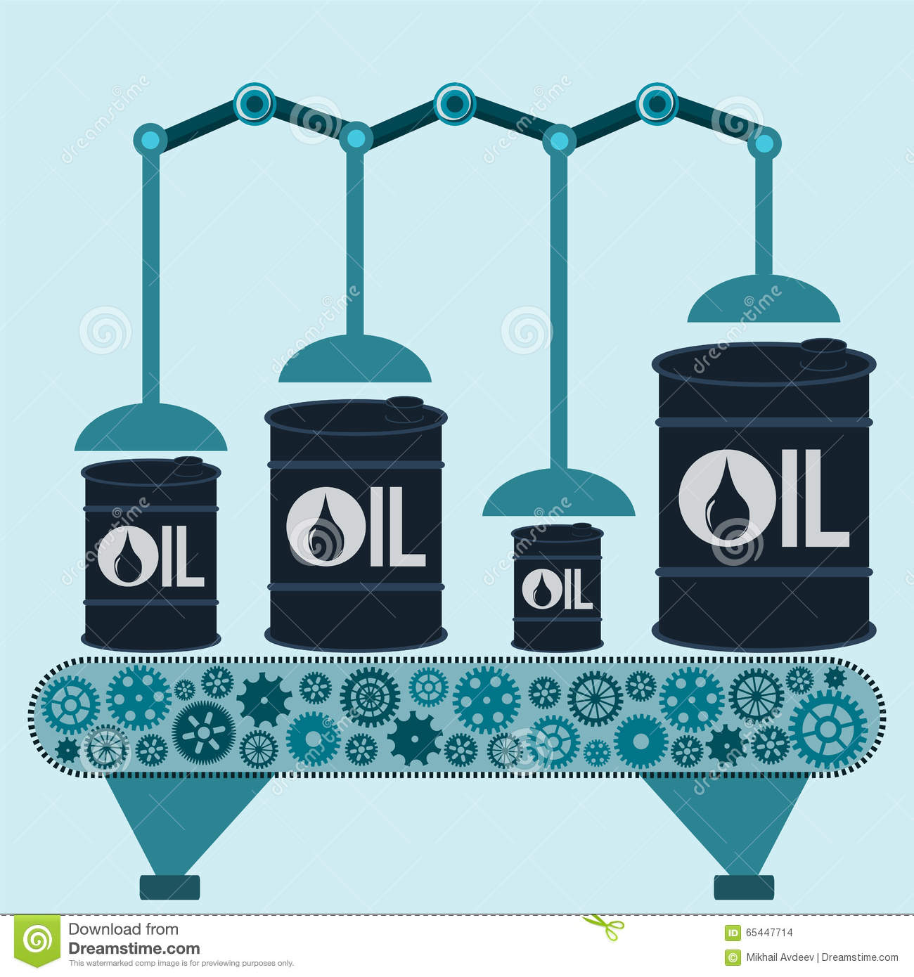 The machine makes barrels of oil. Oil production.