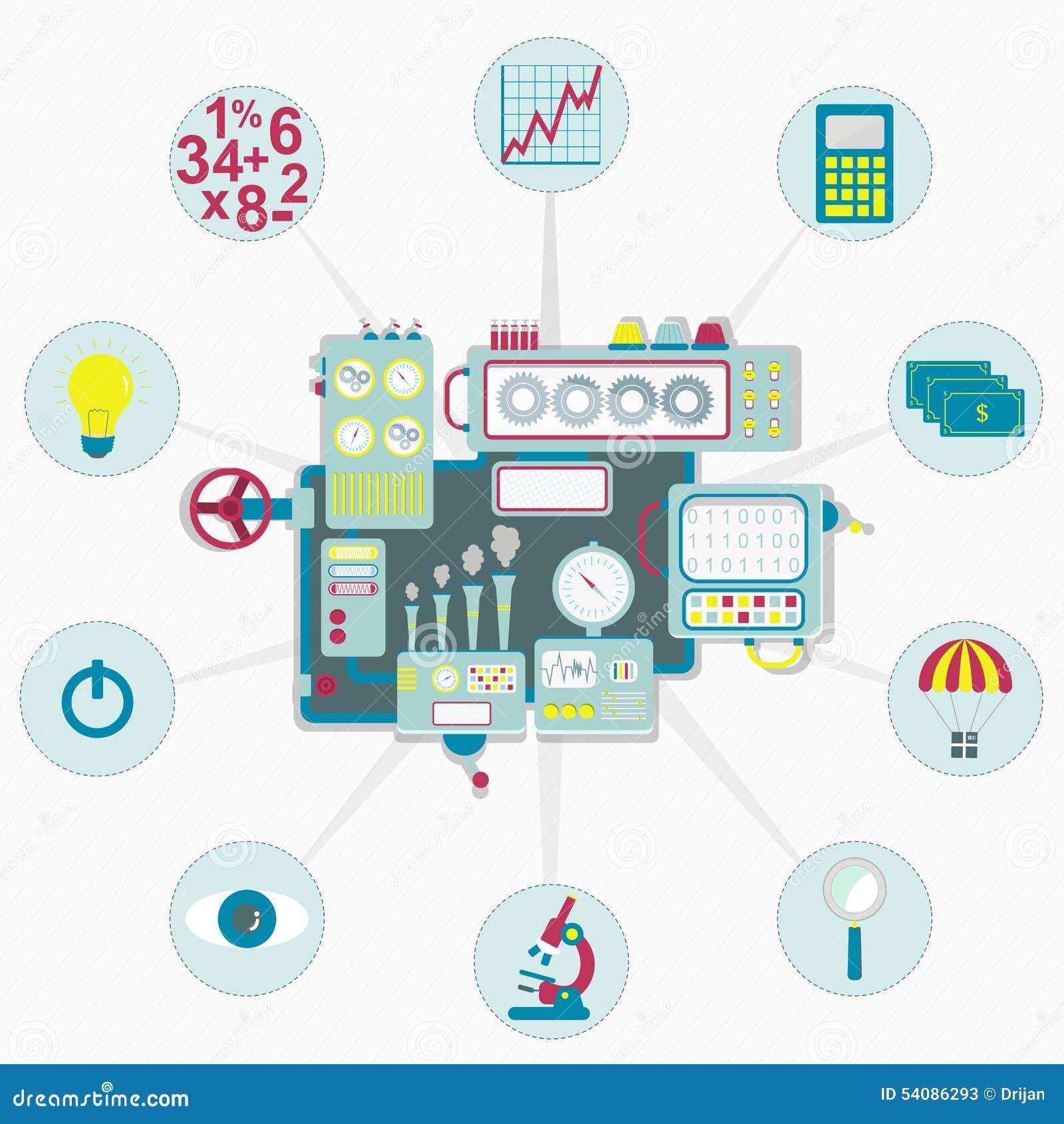 Machine met bedrijfspictogrammen