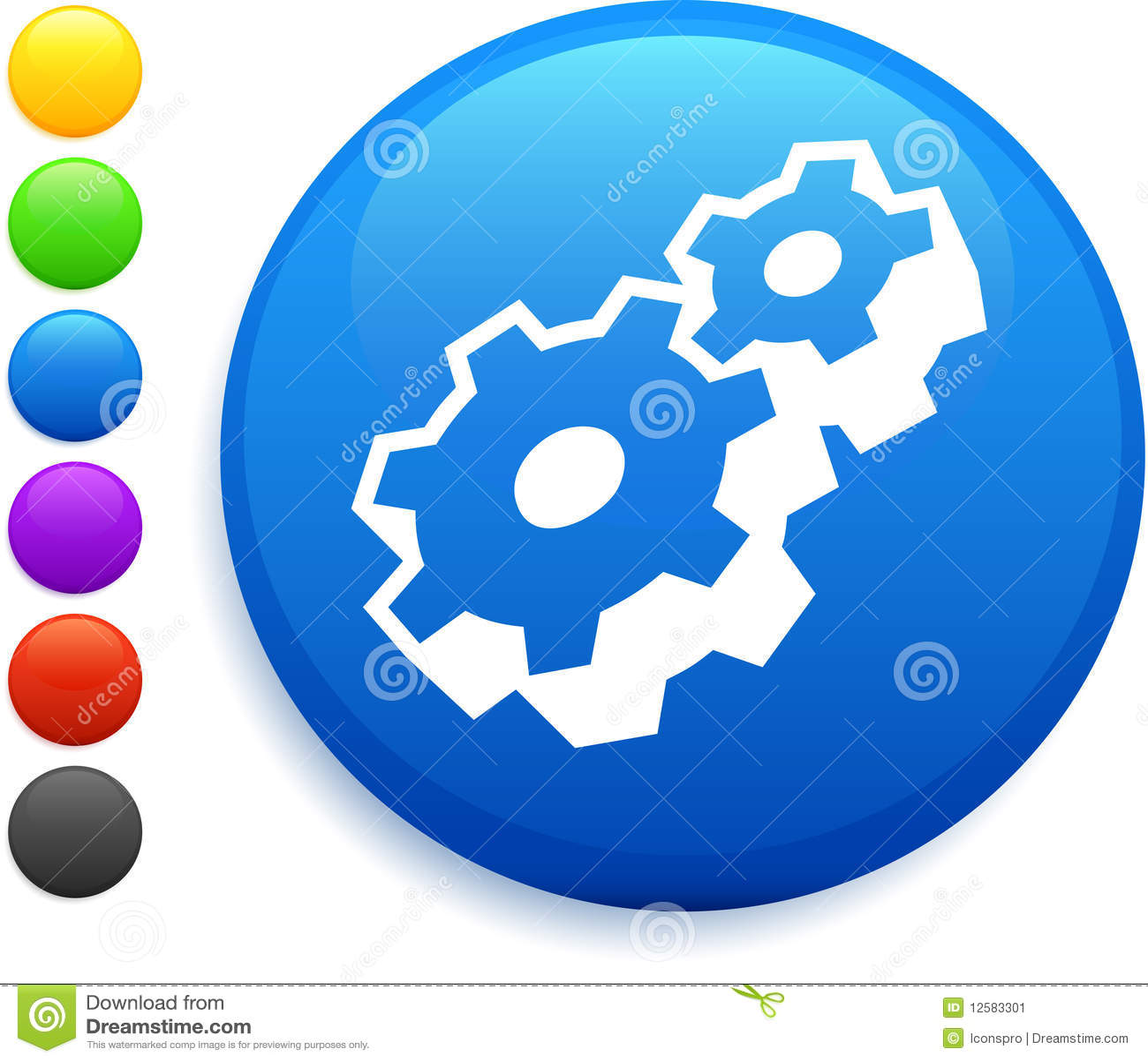 Machine part icon on round internet button
